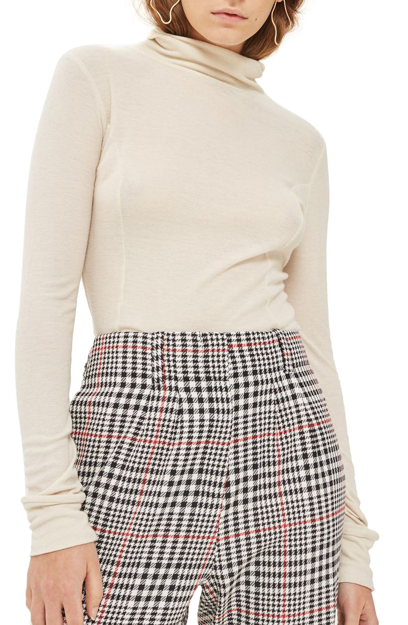Red Pop Check High Waist Mensy Trousers,                             Alternate thumbnail 4, color,                             001