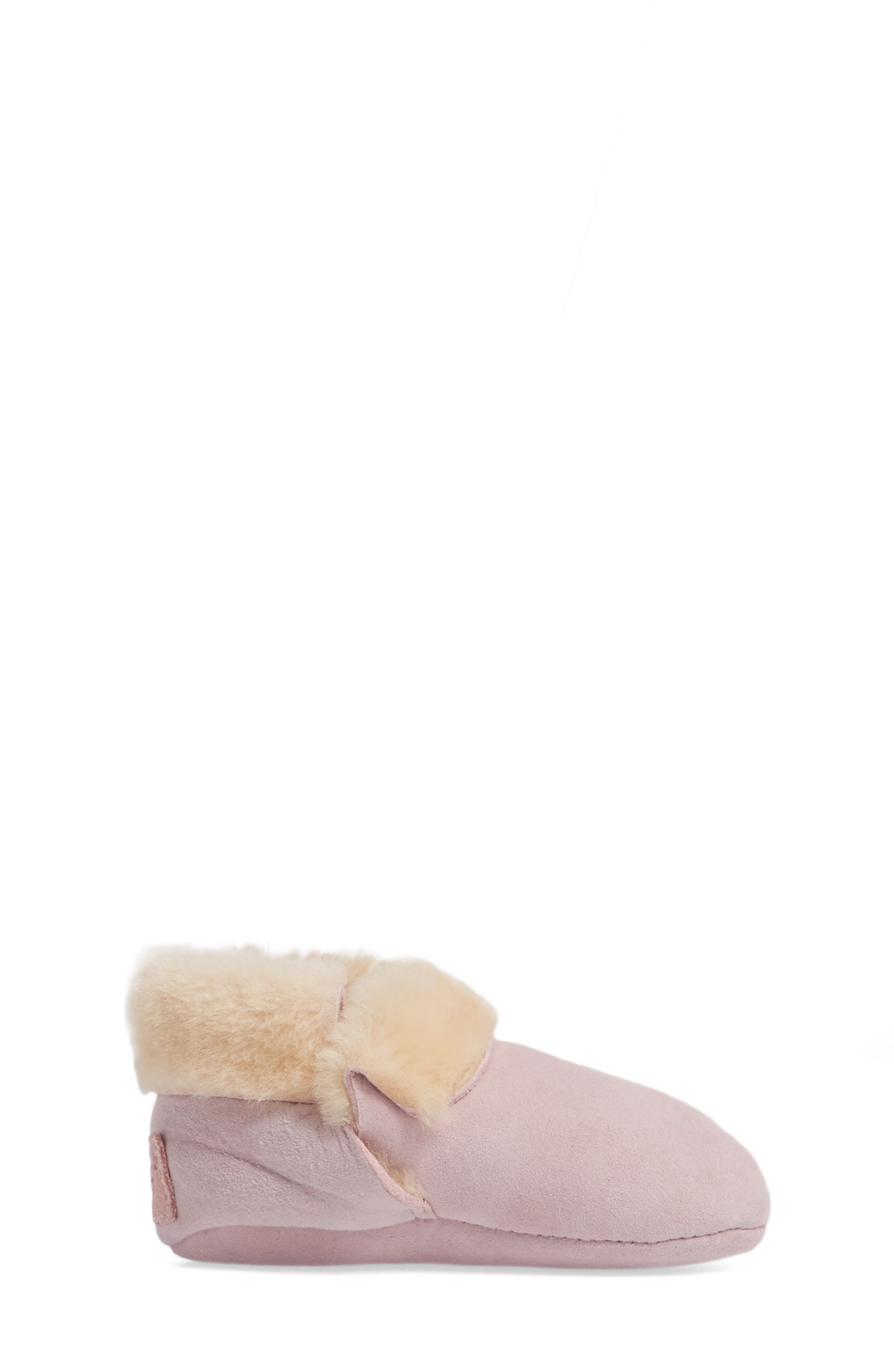 Solvi Genuine Shearling Low Cuffed Bootie,                             Alternate thumbnail 3, color,                             BABY PINK