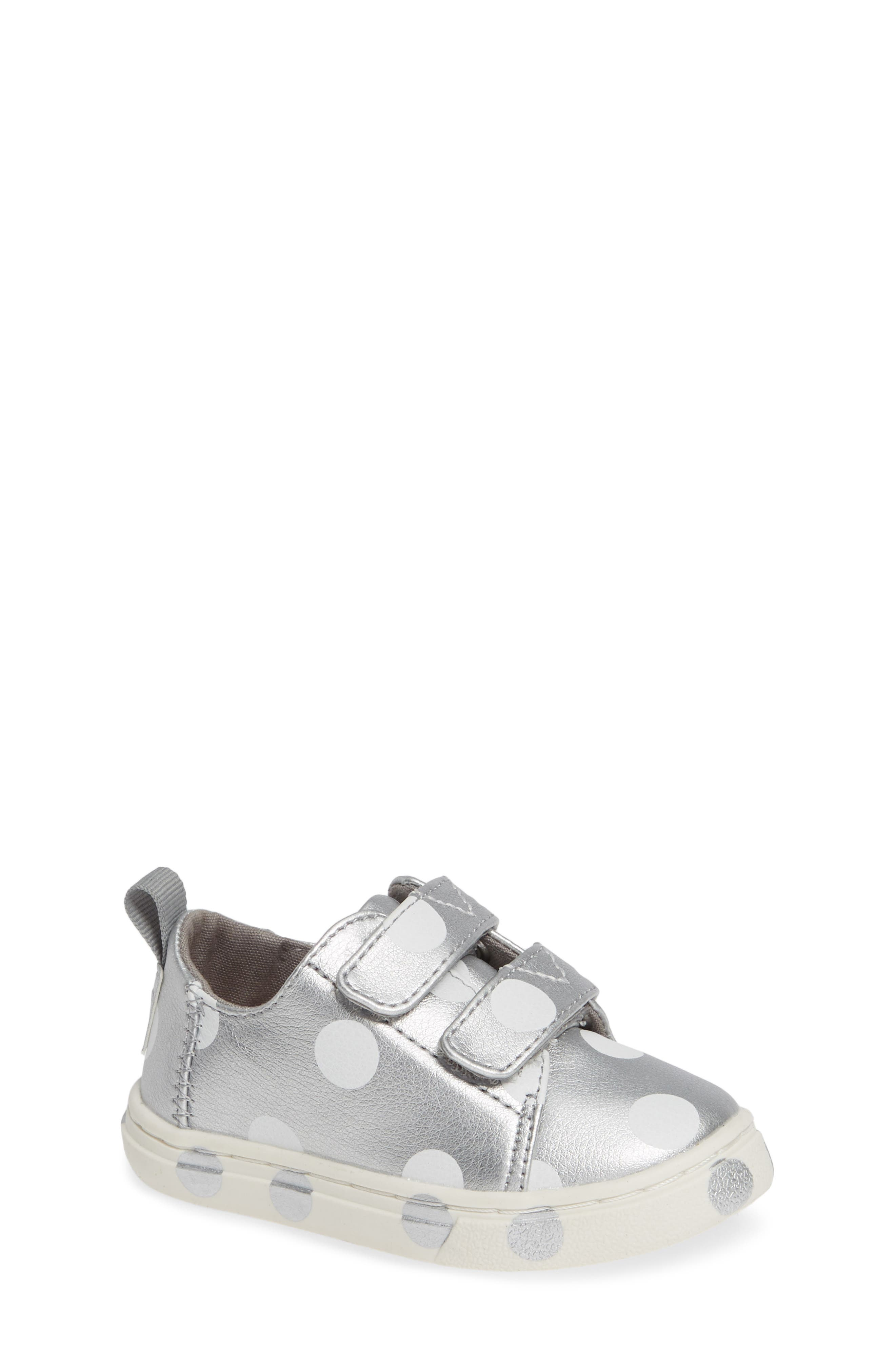 Lenny Sneaker,                         Main,                         color, SILVER SYNTHETIC LEATHER DOTS