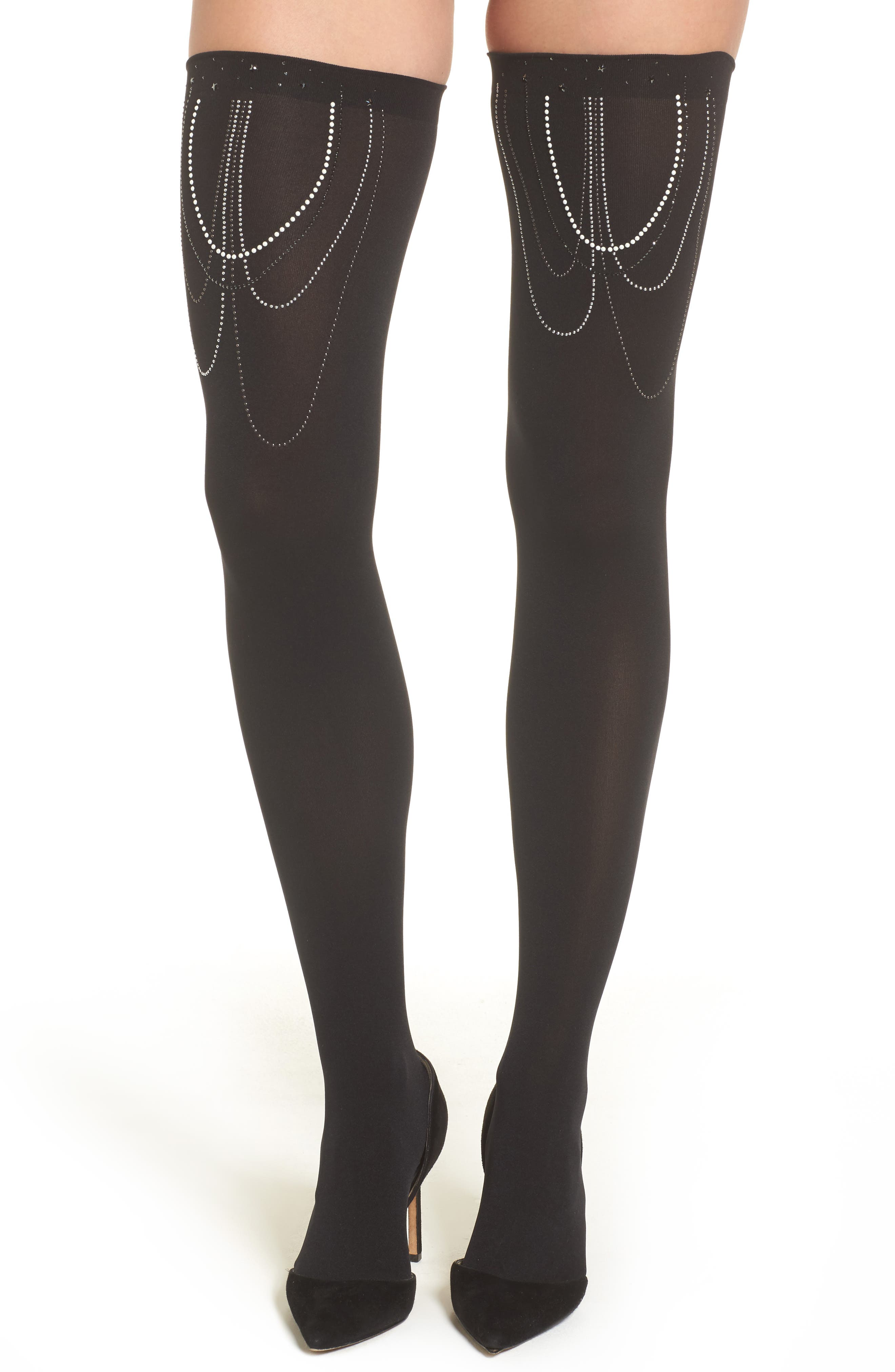 Embellished Stay-Put Stockings,                             Alternate thumbnail 2, color,                             001