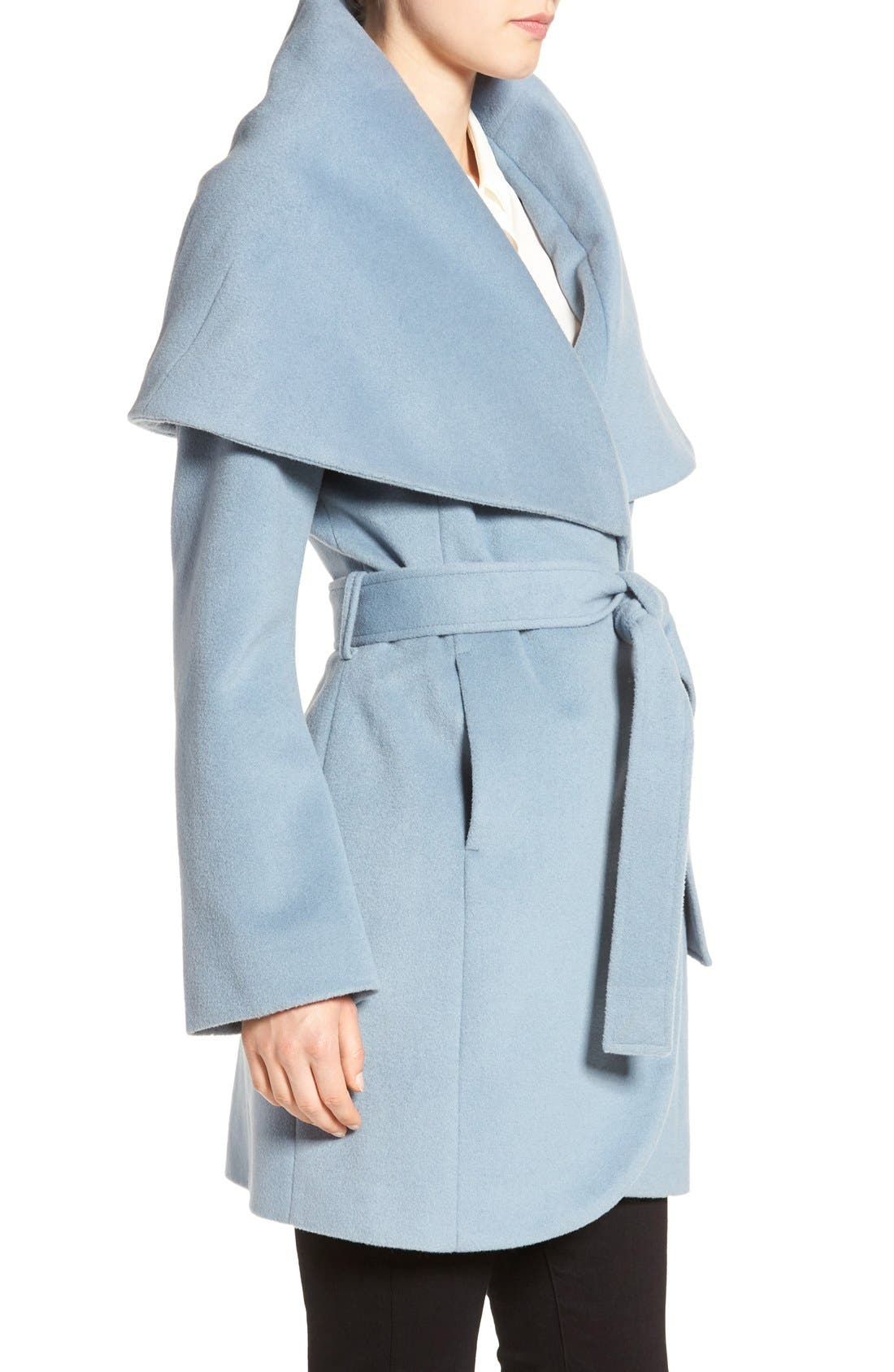 T Tahari Wool Blend Belted Wrap Coat,                             Alternate thumbnail 50, color,