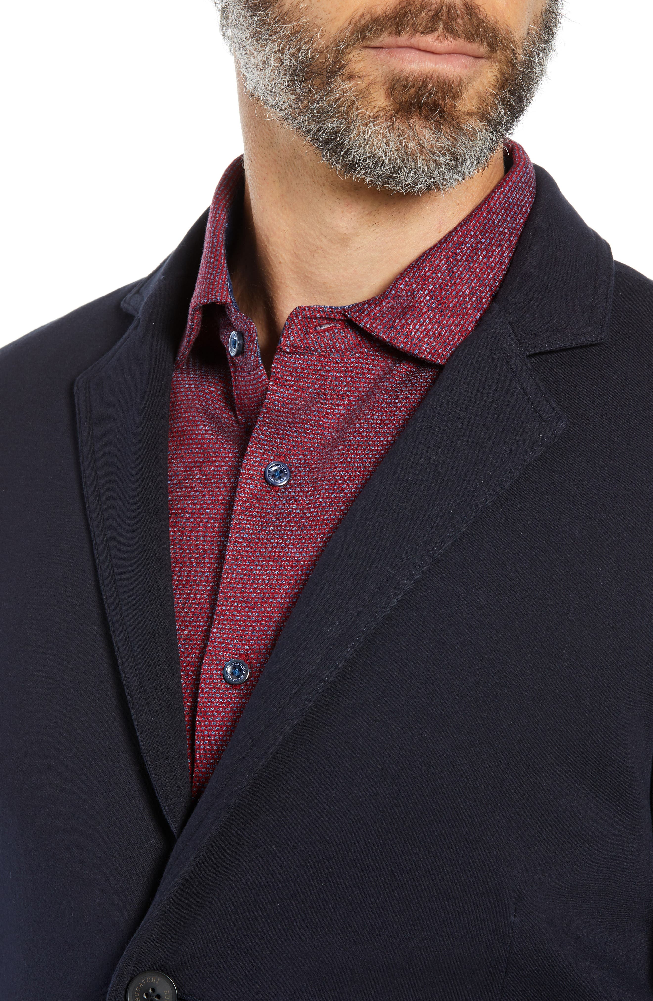 Regular Fit Stretch Cotton Blazer,                             Alternate thumbnail 4, color,                             NAVY