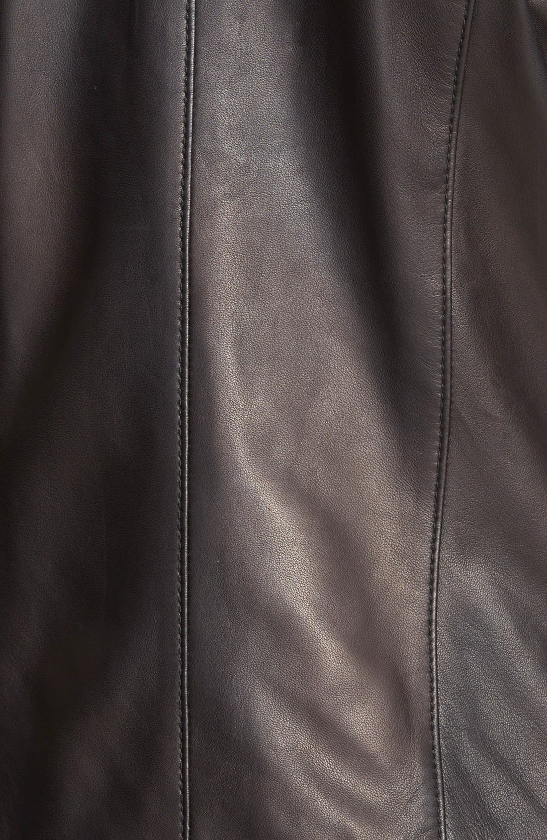 Collarless Leather Jacket,                             Alternate thumbnail 6, color,                             001