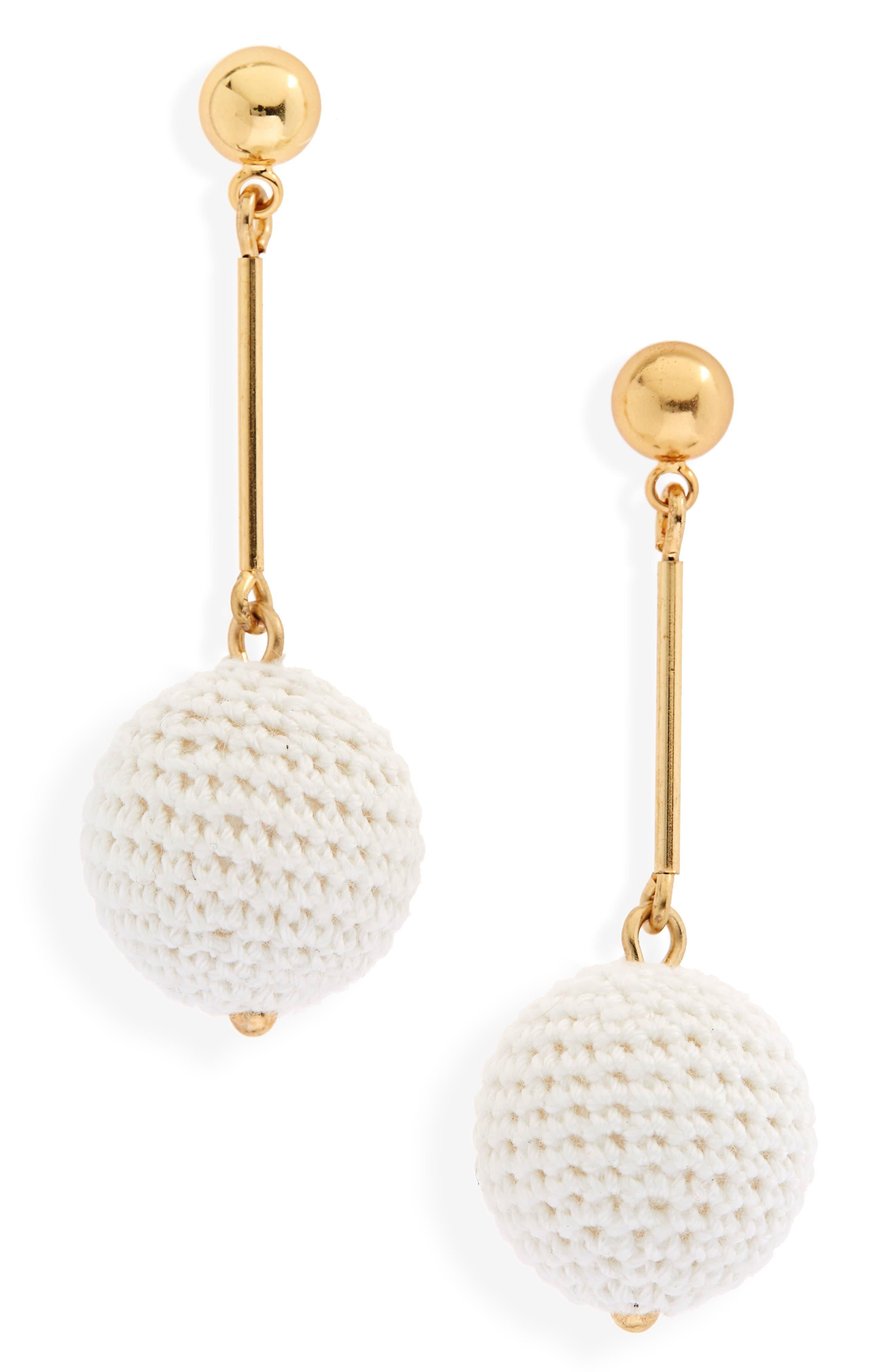 Crochet Ball Drop Earrings,                             Main thumbnail 1, color,                             100