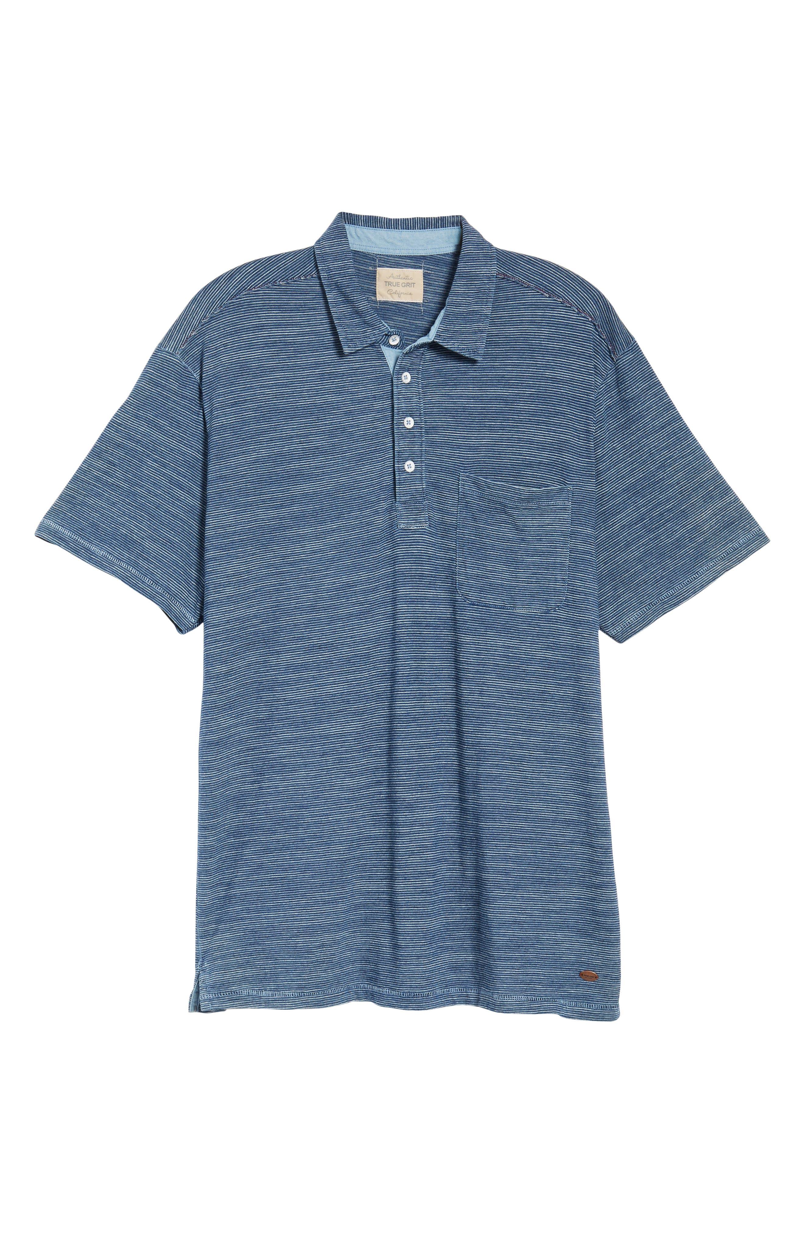 TRUE GRIT,                             Indigo Stripe Jersey Polo,                             Alternate thumbnail 6, color,                             400
