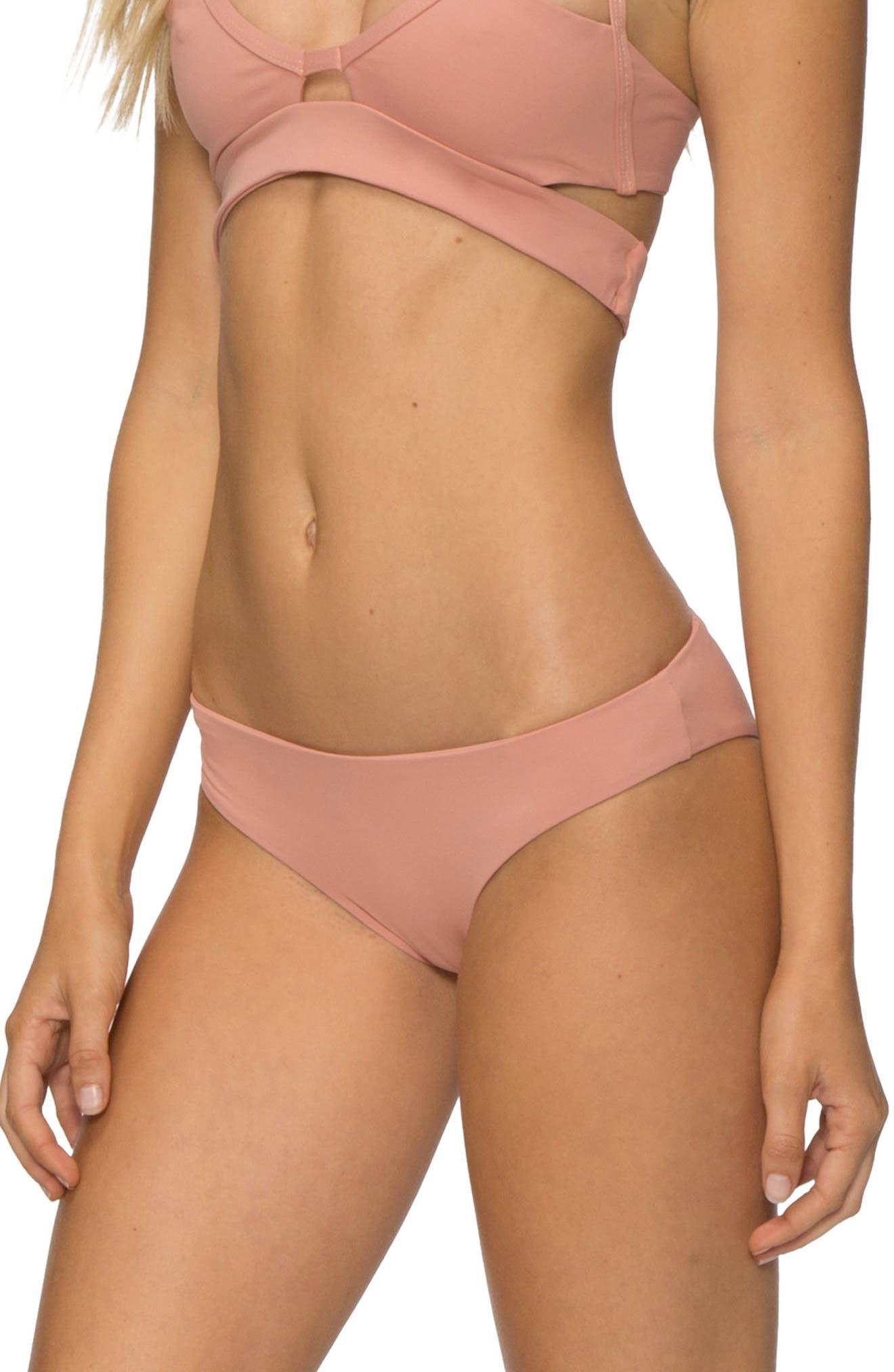 'Ali' Moderate Coverage Bikini Bottoms,                             Alternate thumbnail 3, color,                             ROSE DAWN