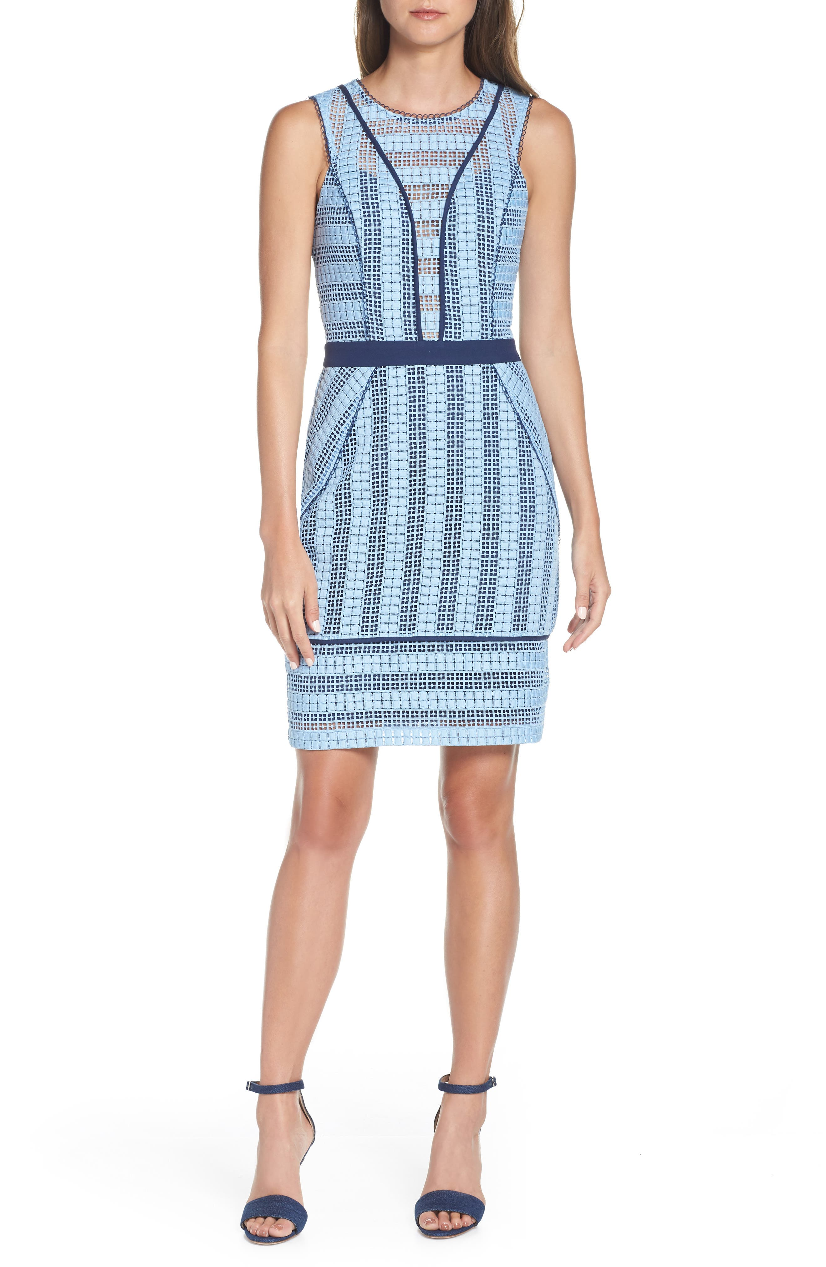 Adelyn Rae Rhea Sleeveless Geo Lace Dress, Blue