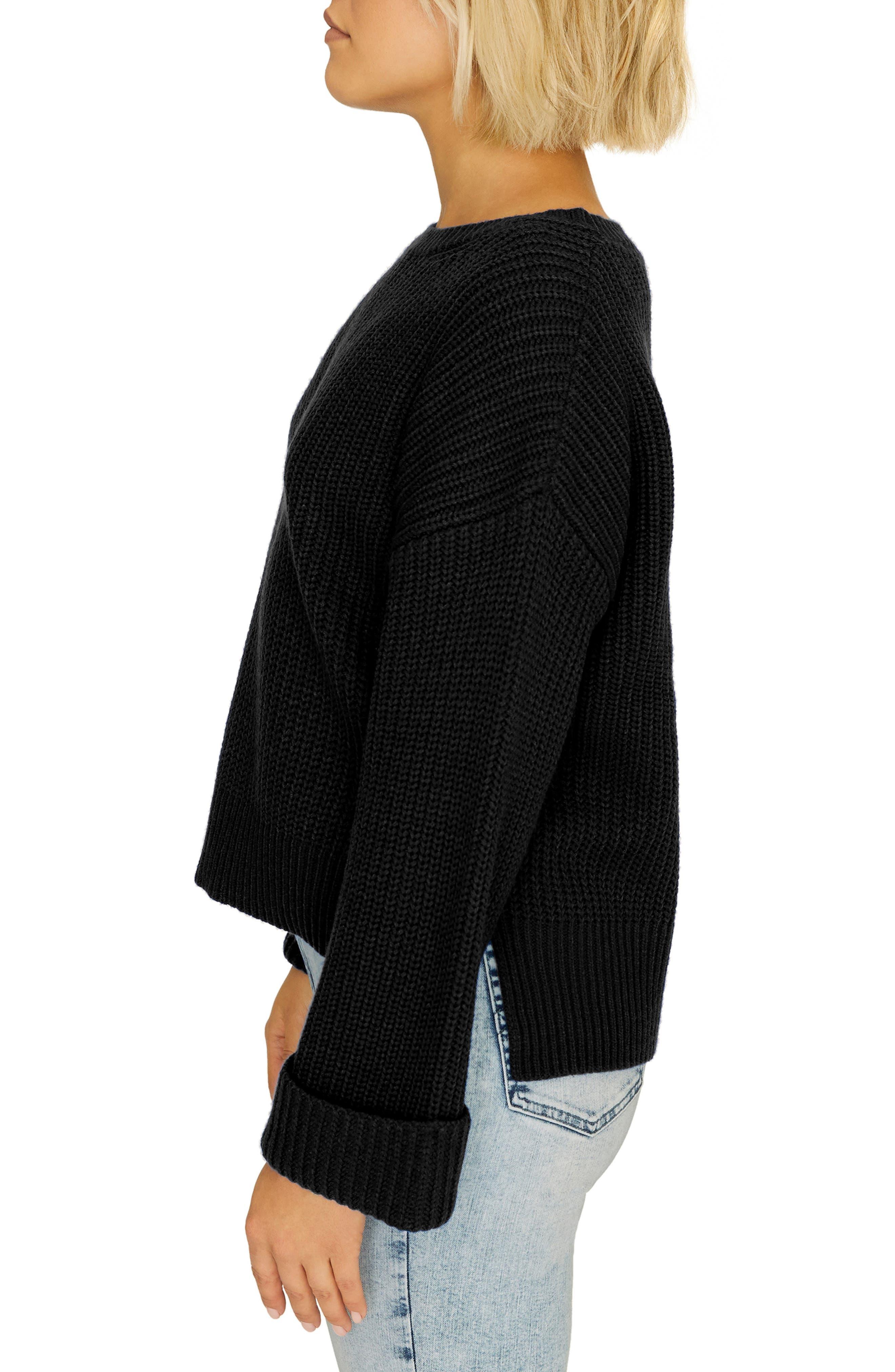 Bell Sleeve Shaker Sweater,                             Alternate thumbnail 3, color,                             BLACK