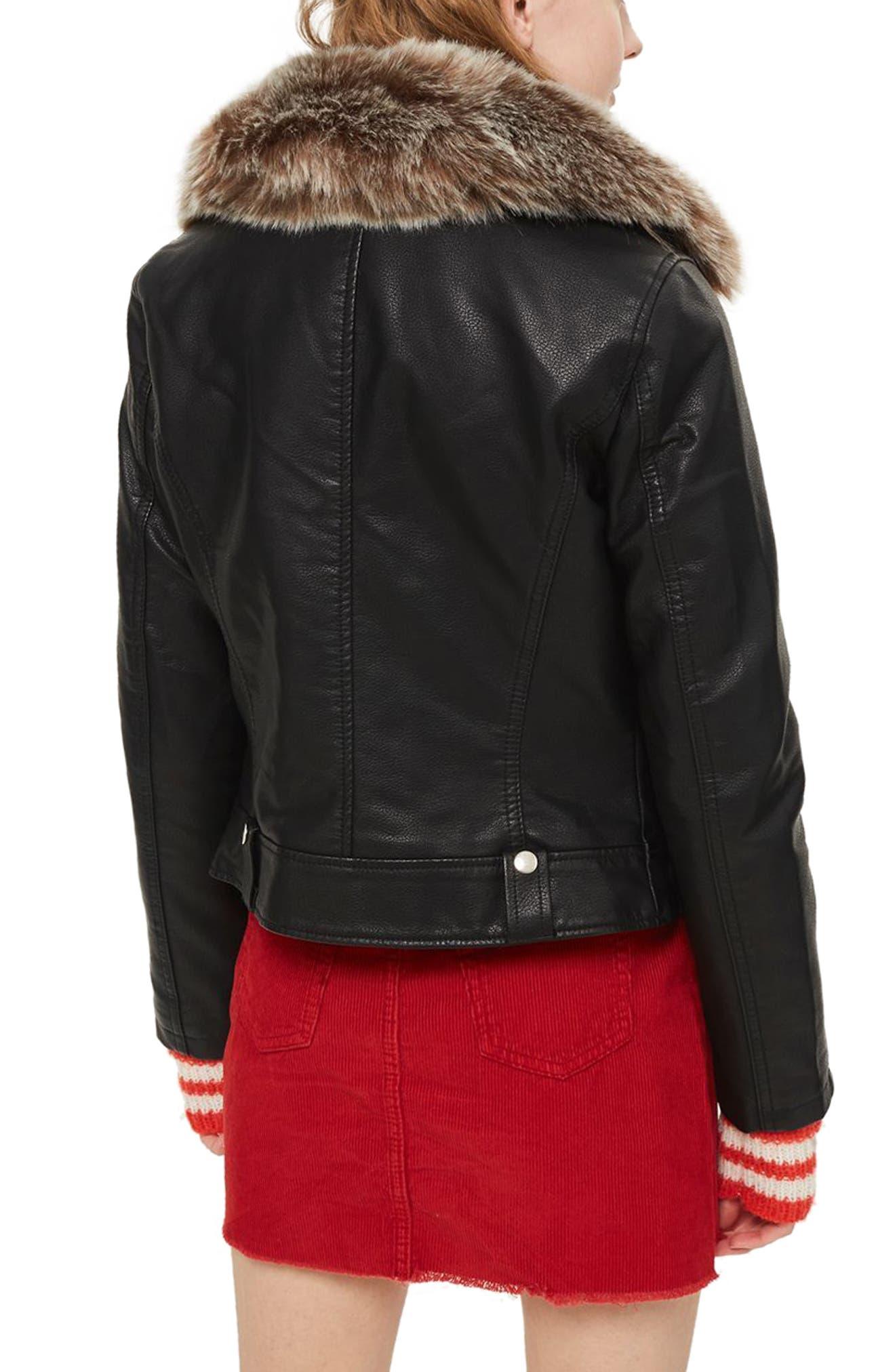 Rayne Faux Fur Trim Biker Jacket,                             Alternate thumbnail 2, color,                             001