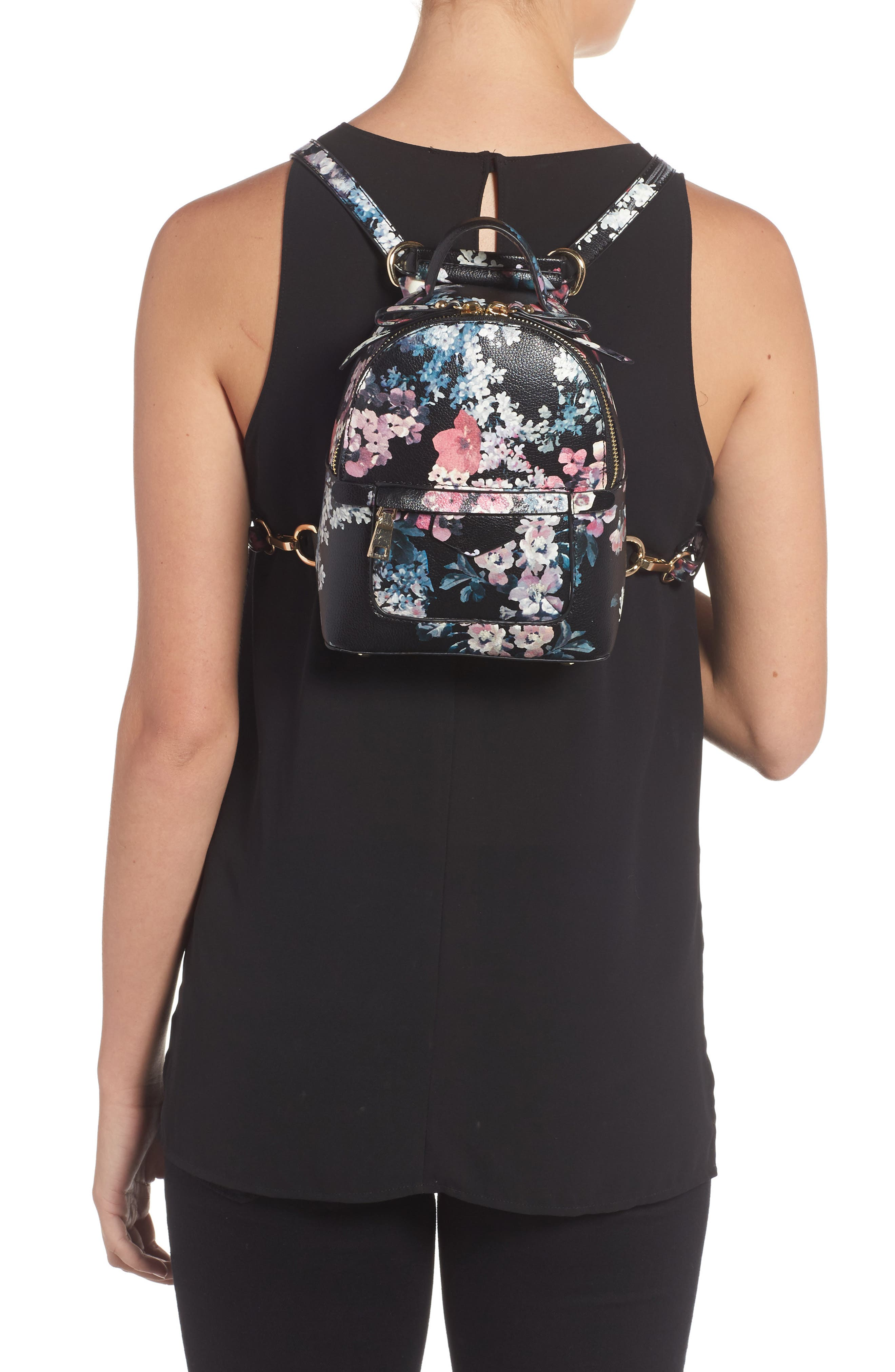 Mini Floral Faux Leather Mini Backpack,                             Alternate thumbnail 2, color,                             002