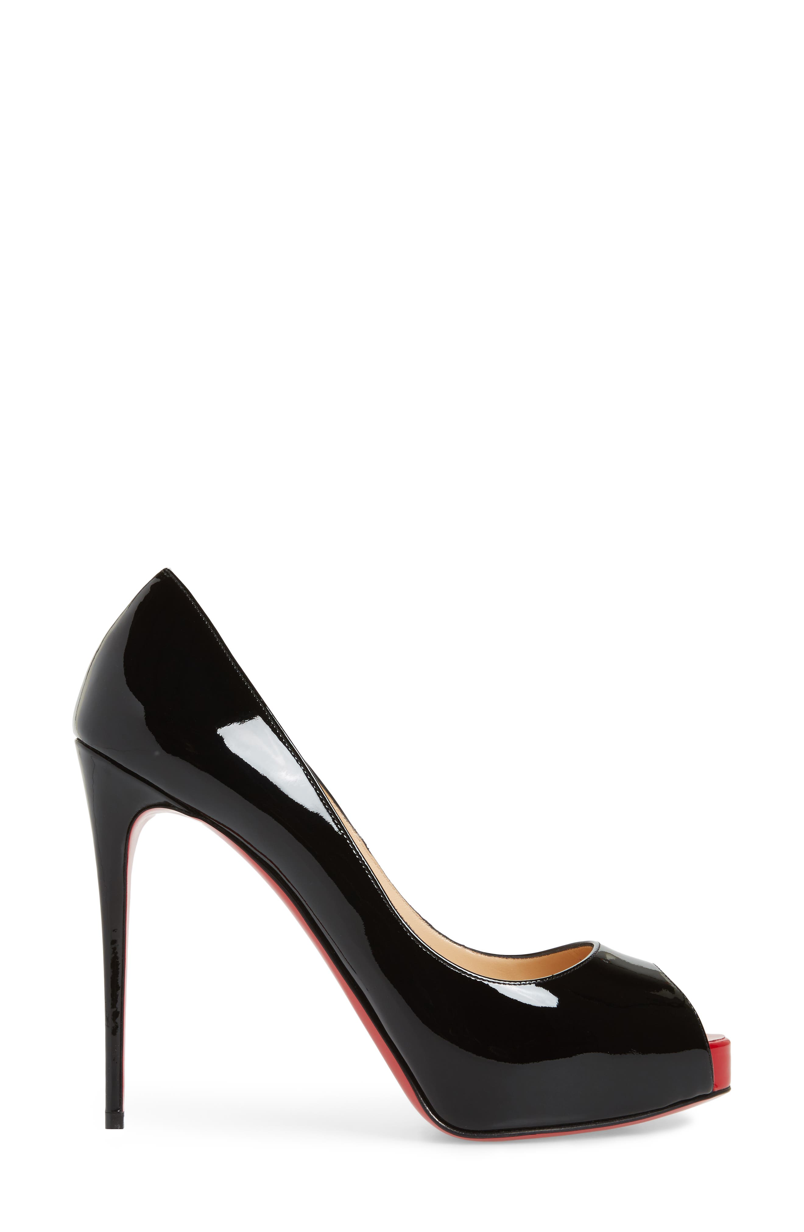 'Prive' Open Toe Pump,                             Alternate thumbnail 3, color,                             BLACK/ RED