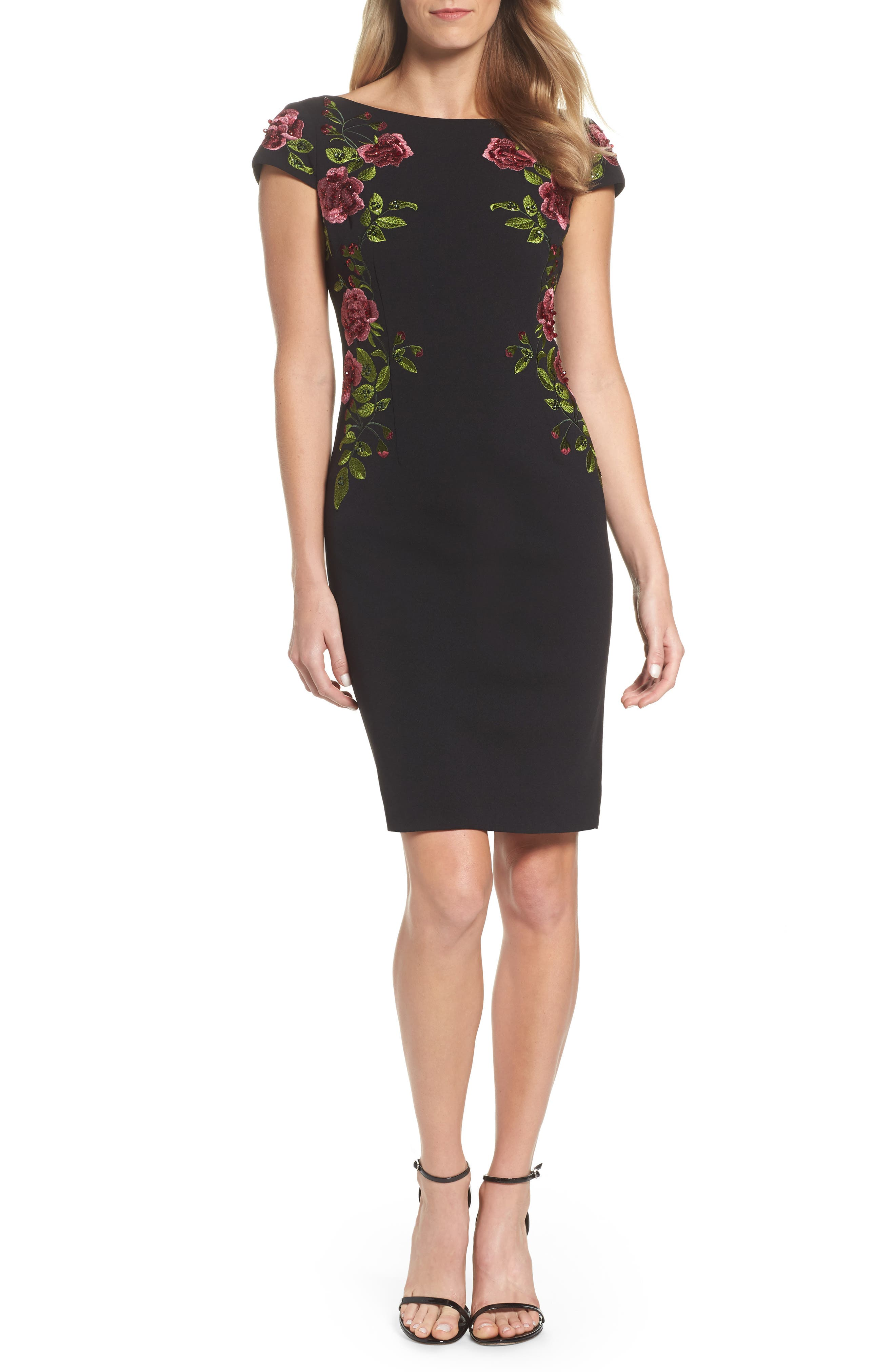 Embroidered Crepe Sheath Dress,                         Main,                         color,