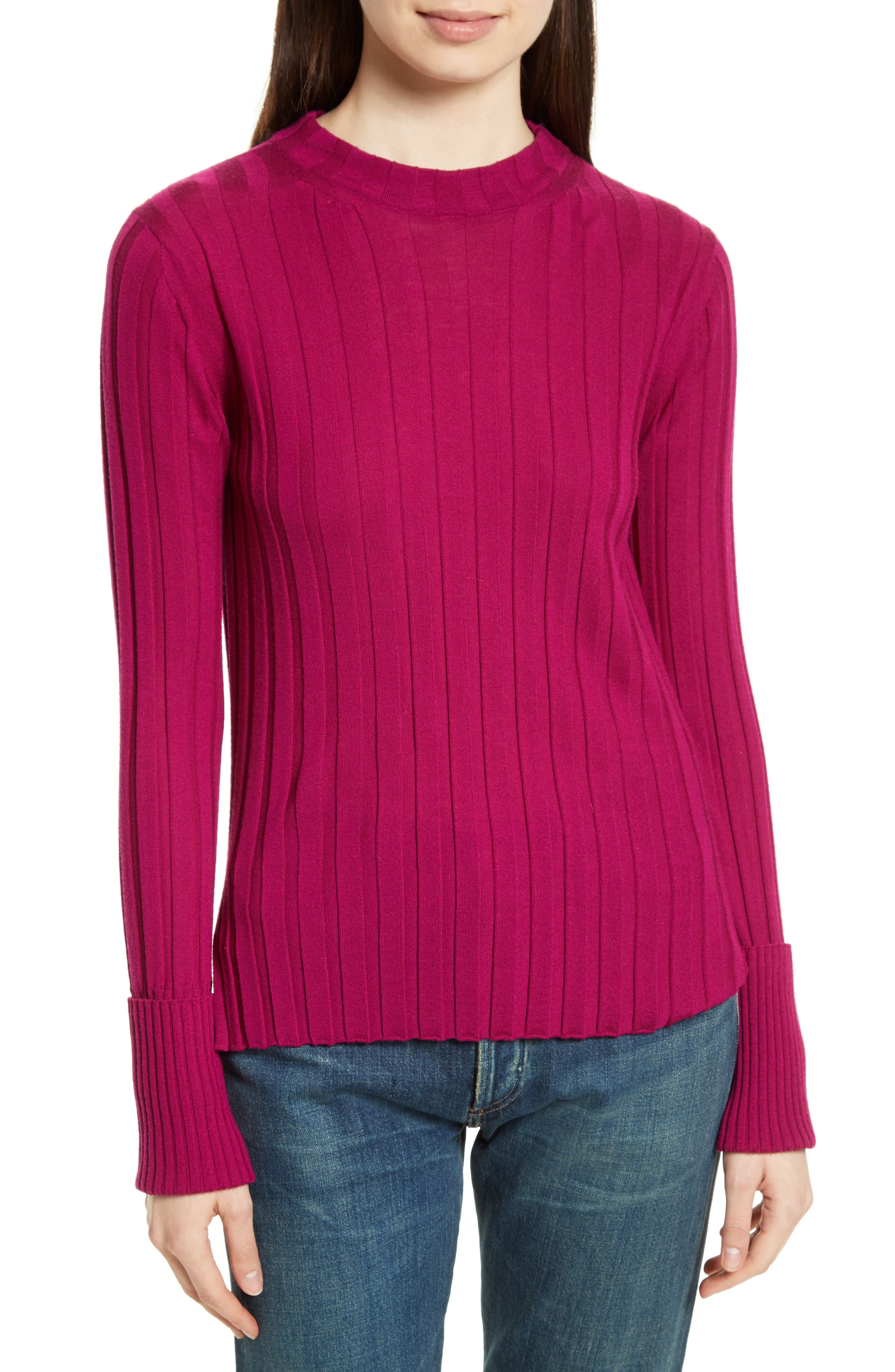 Wide Ribbed Mock Neck Wool Sweater,                             Main thumbnail 4, color,