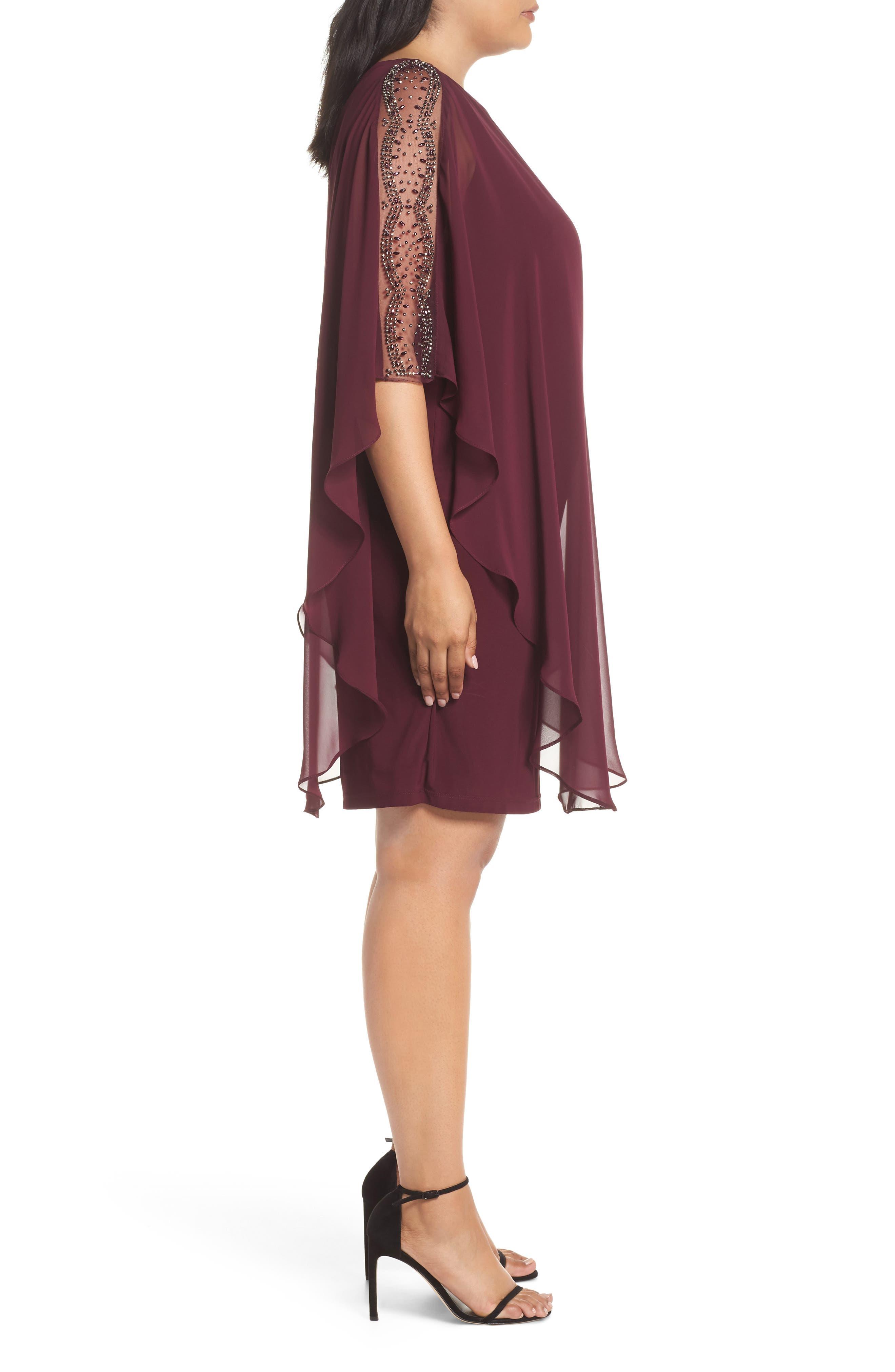 Chiffon Overlay Beaded Sleeve Cocktail Dress,                             Alternate thumbnail 3, color,                             WINE