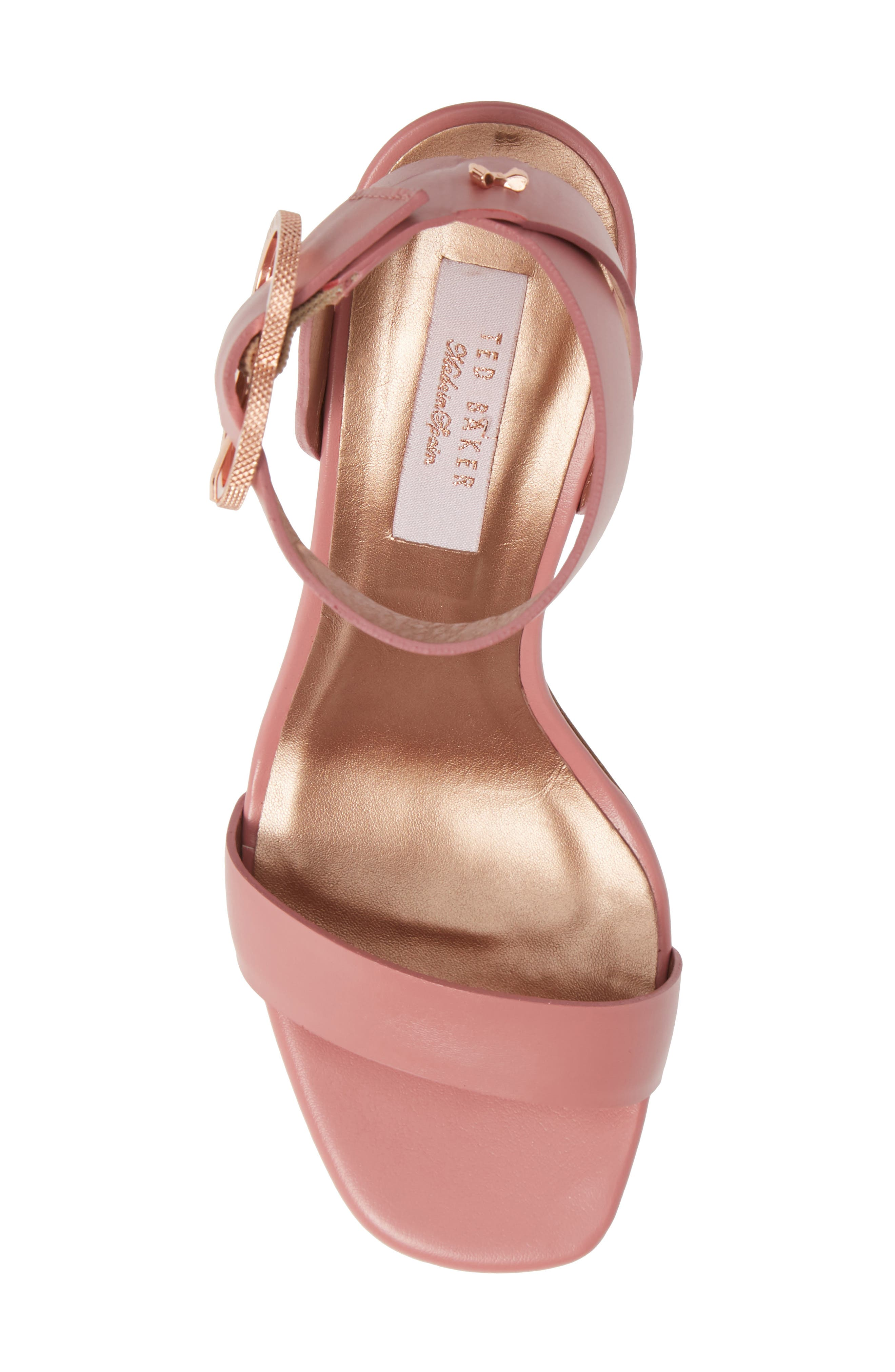 Vallama Block Heel Sandal,                             Alternate thumbnail 5, color,                             PINK LEATHER