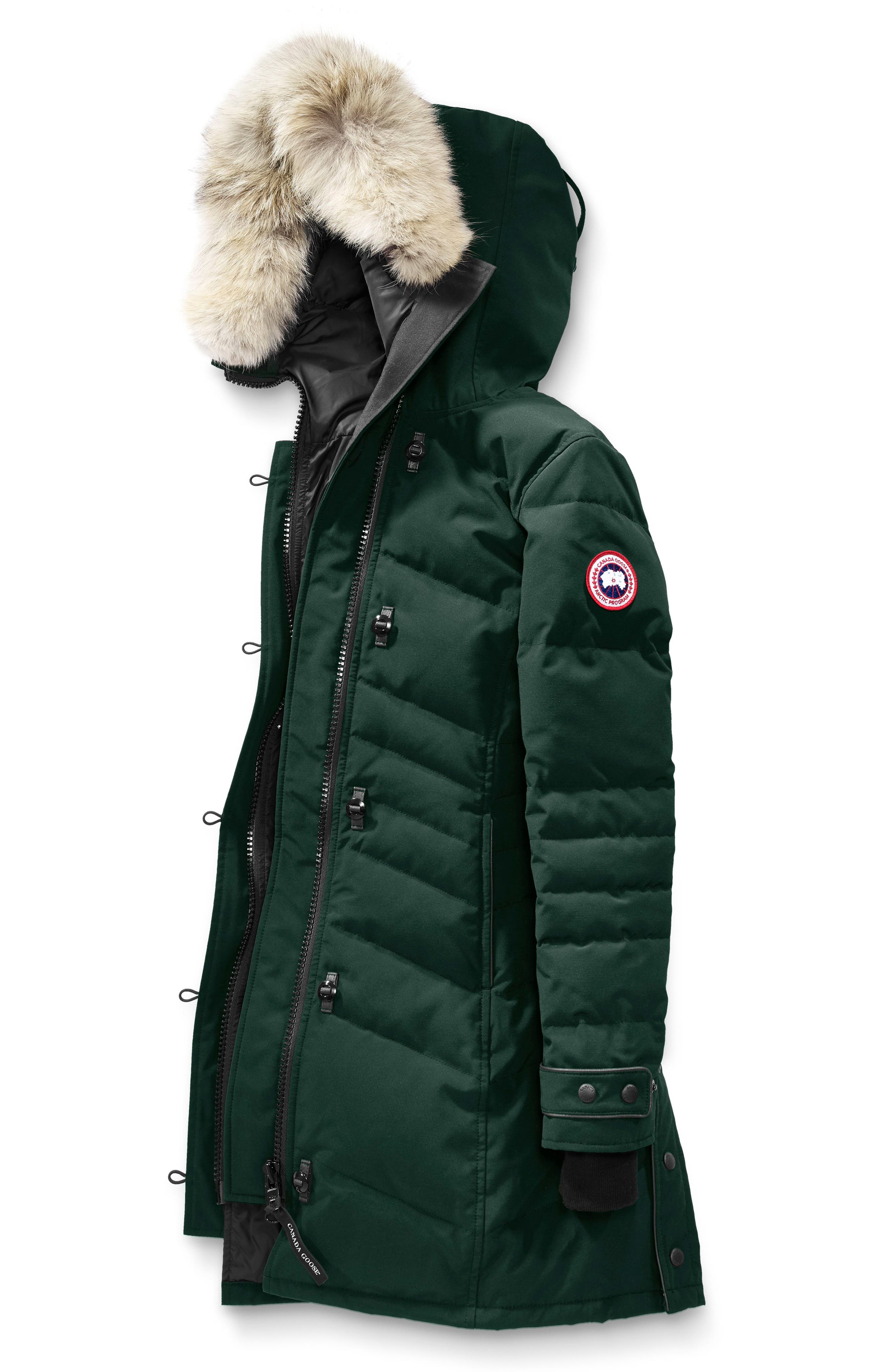 'Lorette' Hooded Down Parka with Genuine Coyote Fur Trim,                             Alternate thumbnail 4, color,                             026