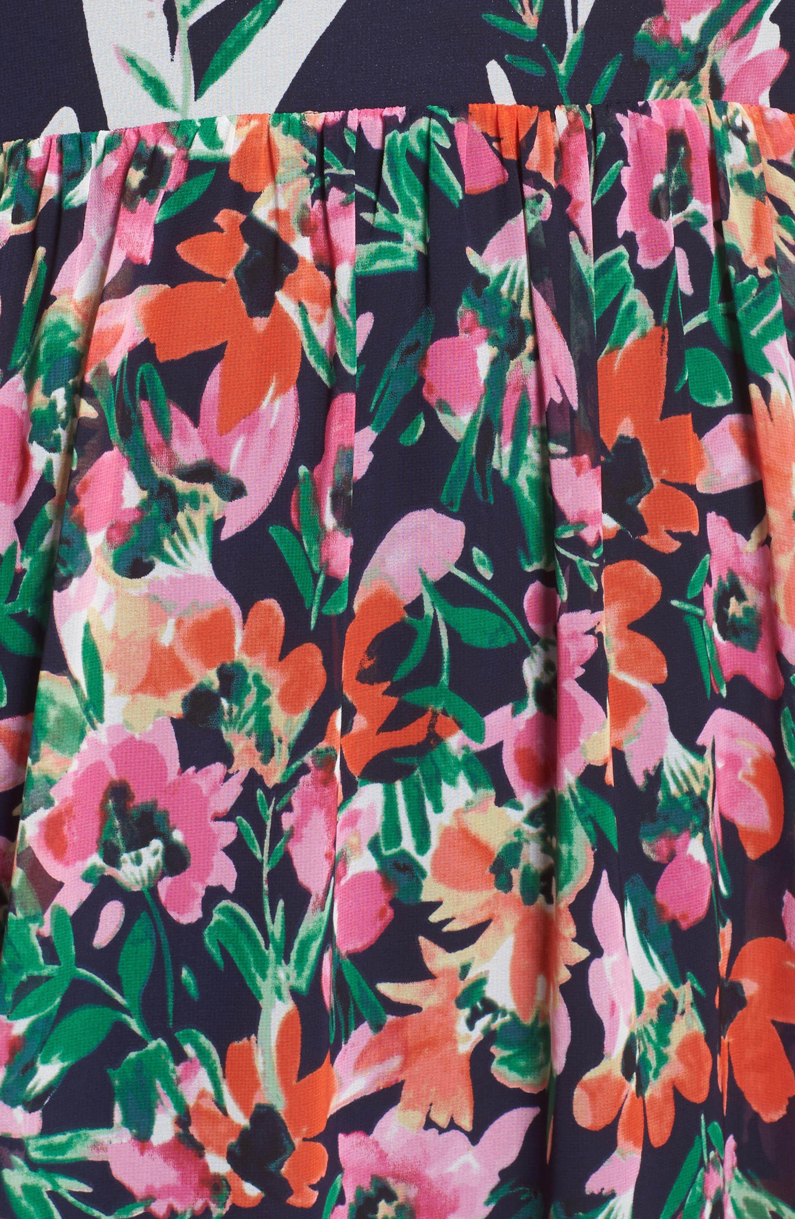 Floral Halter Chiffon Maxi Dress,                             Alternate thumbnail 6, color,                             NAVY/ PINK