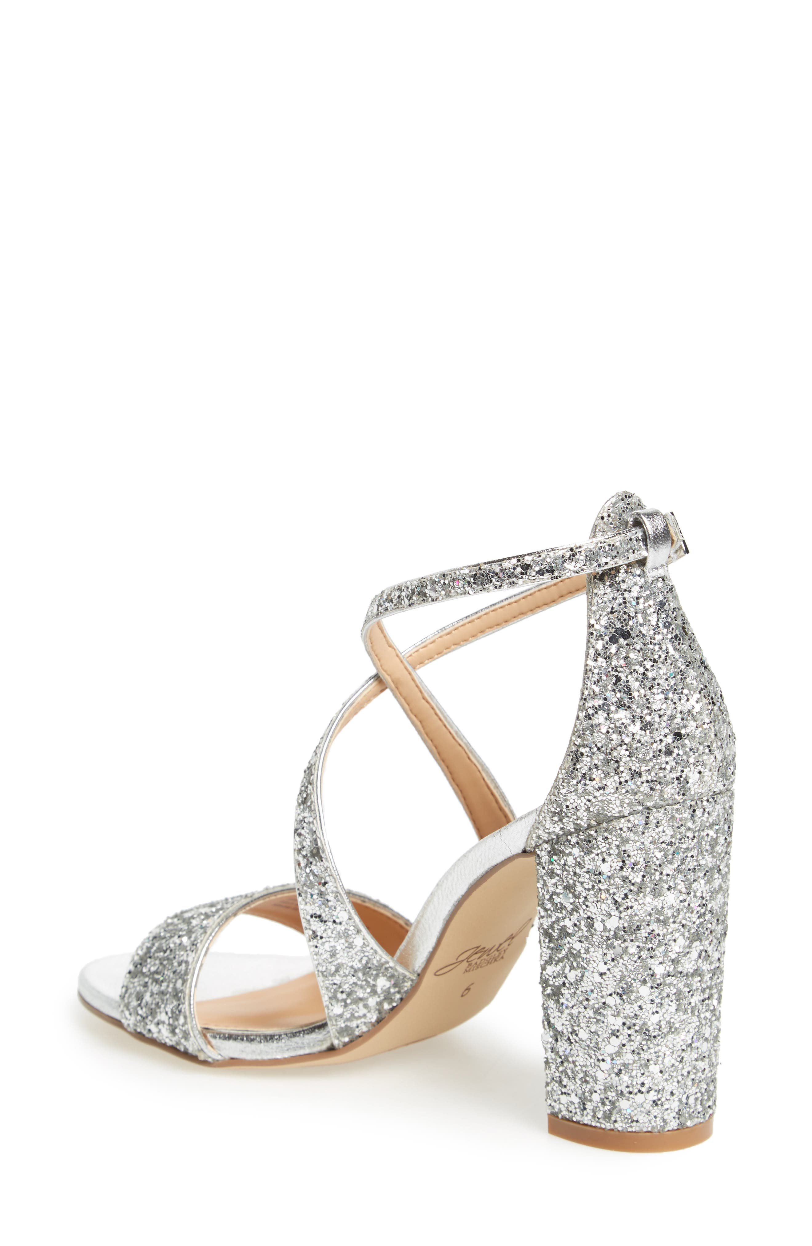 Cook Block Heel Glitter Sandal,                             Alternate thumbnail 2, color,                             SILVER LEATHER