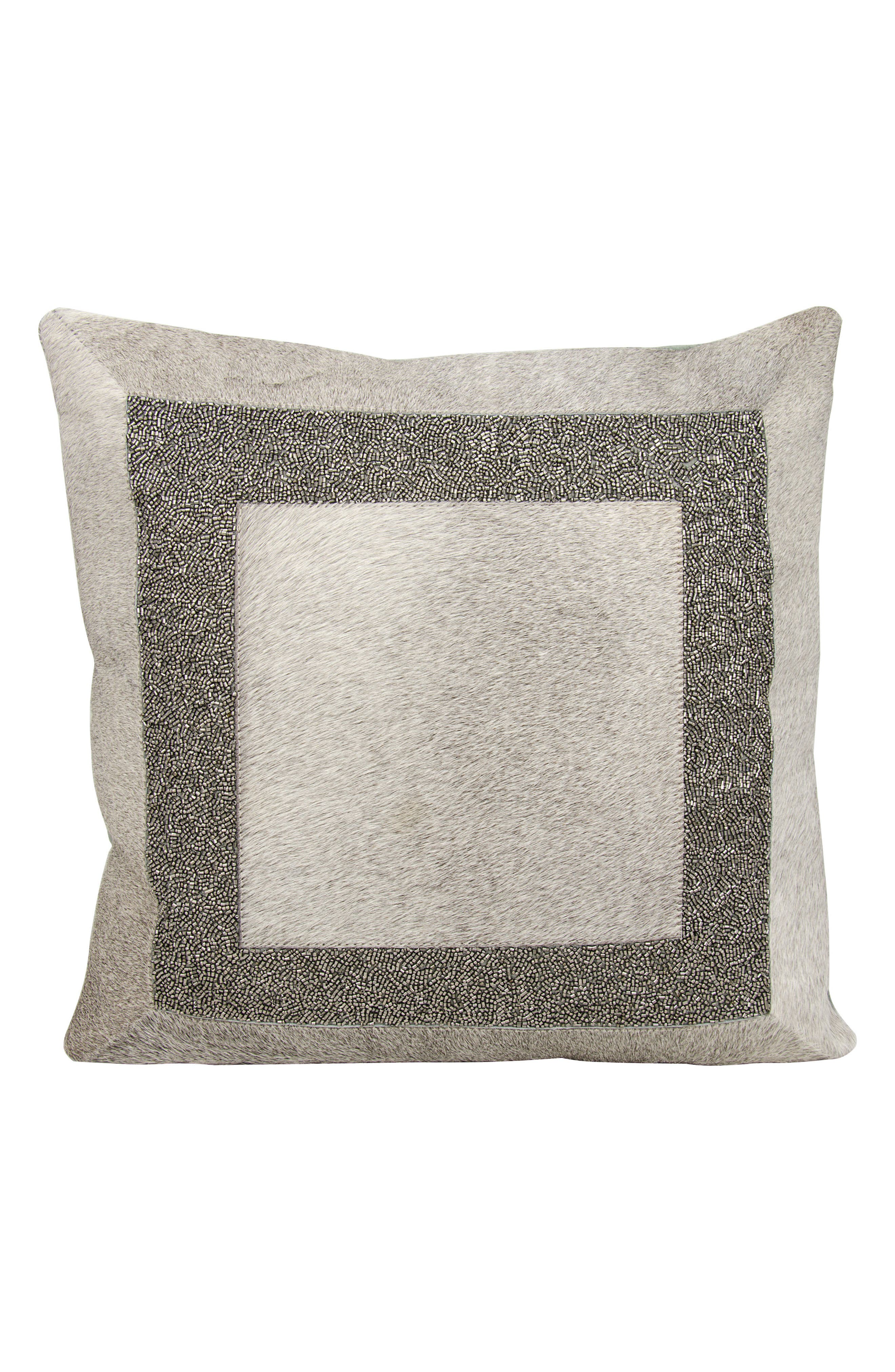 Beaded Calf Hair Accent Pillow,                         Main,                         color, 030