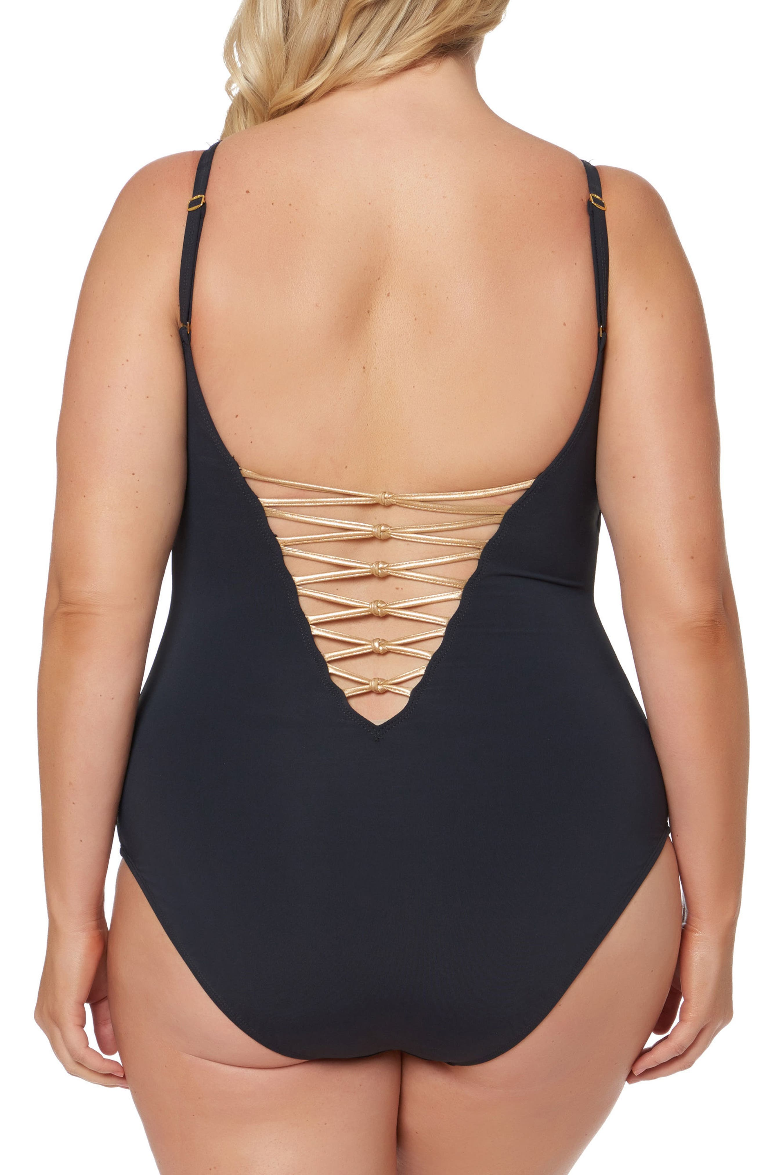 Lattice One-Piece Swimsuit,                             Alternate thumbnail 5, color,