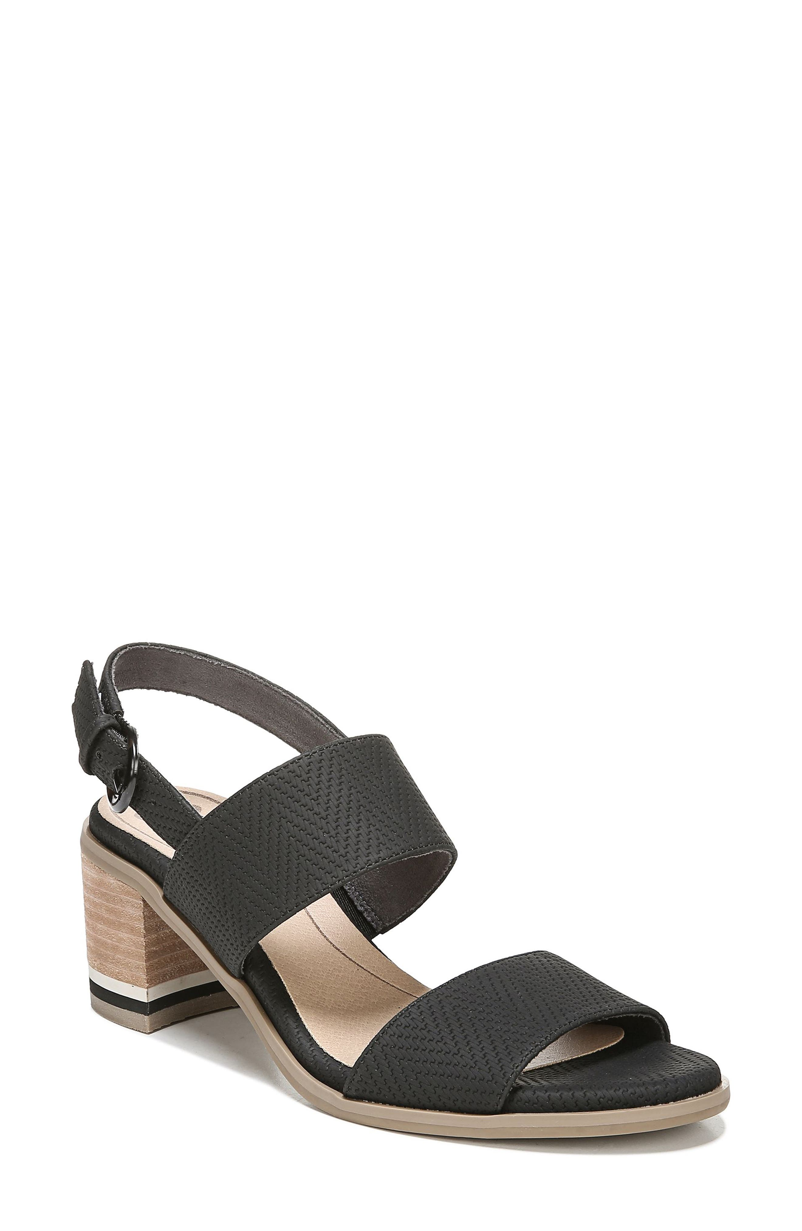 Sure Thing Sandal, Main, color, BLACK FAUX LEATHER