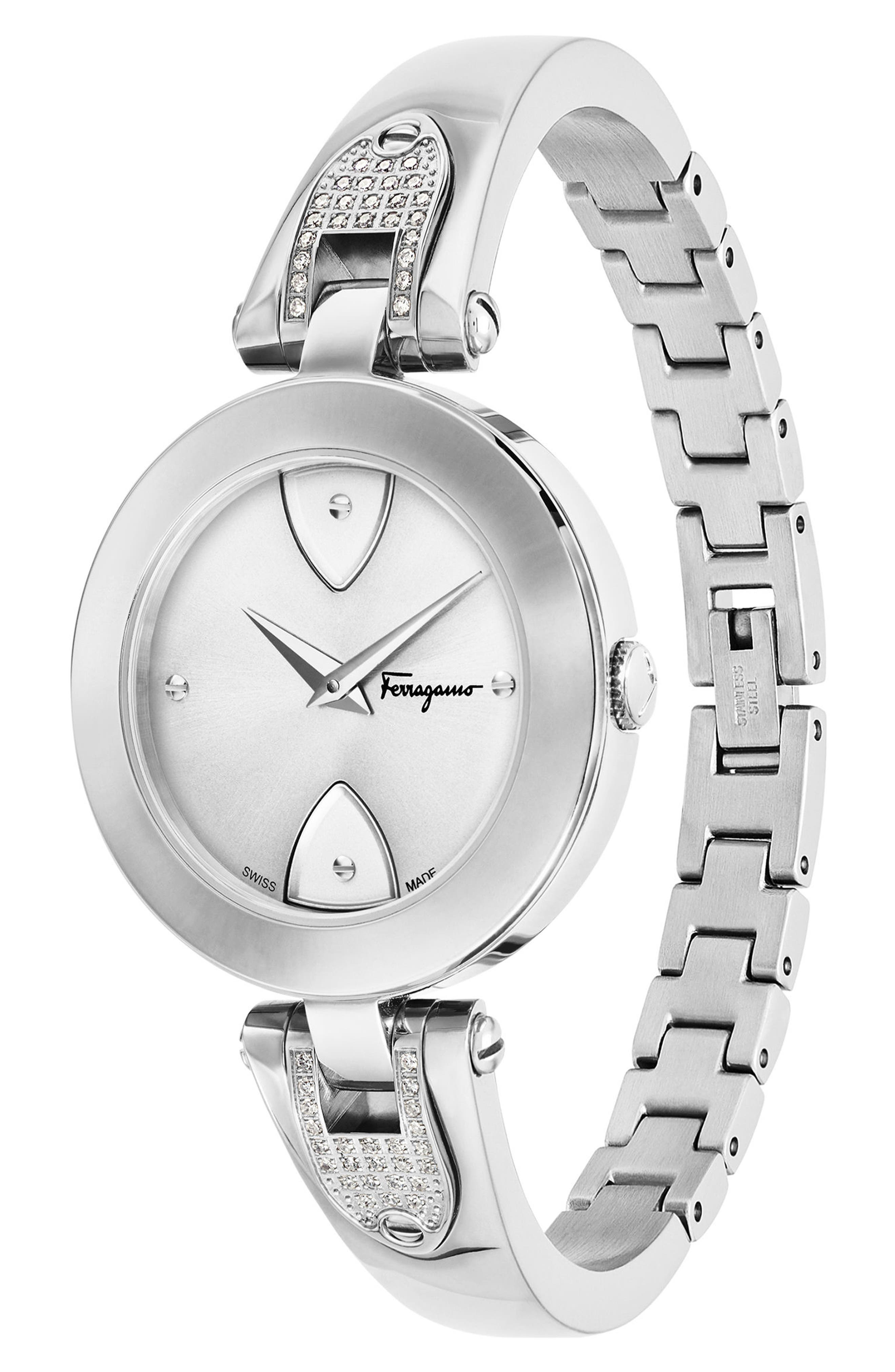 Gilio Diamond Bangle Watch, 32mm,                             Alternate thumbnail 3, color,                             040