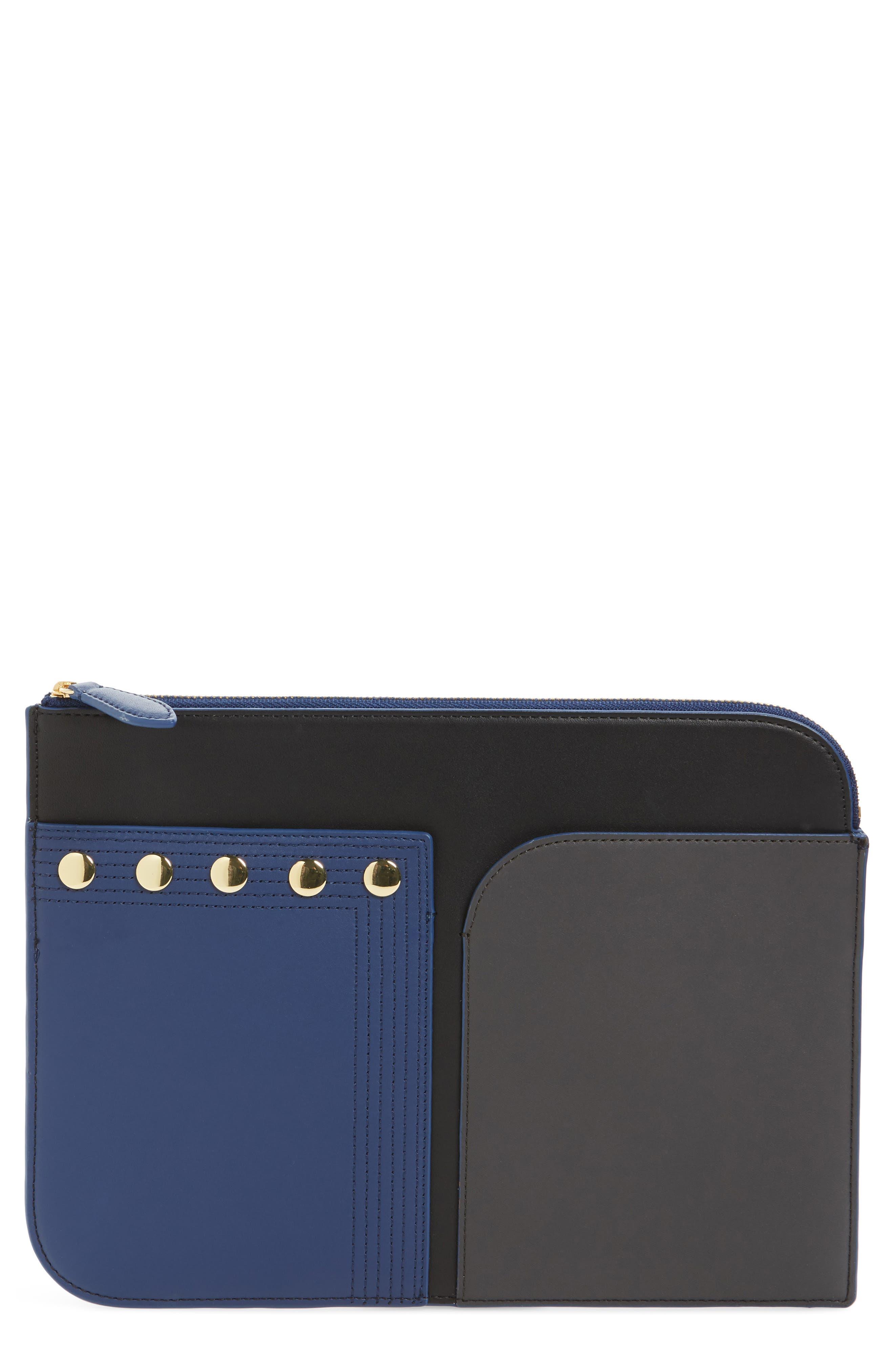 Large Colorblock Leather Zip Pouch,                             Main thumbnail 1, color,                             402