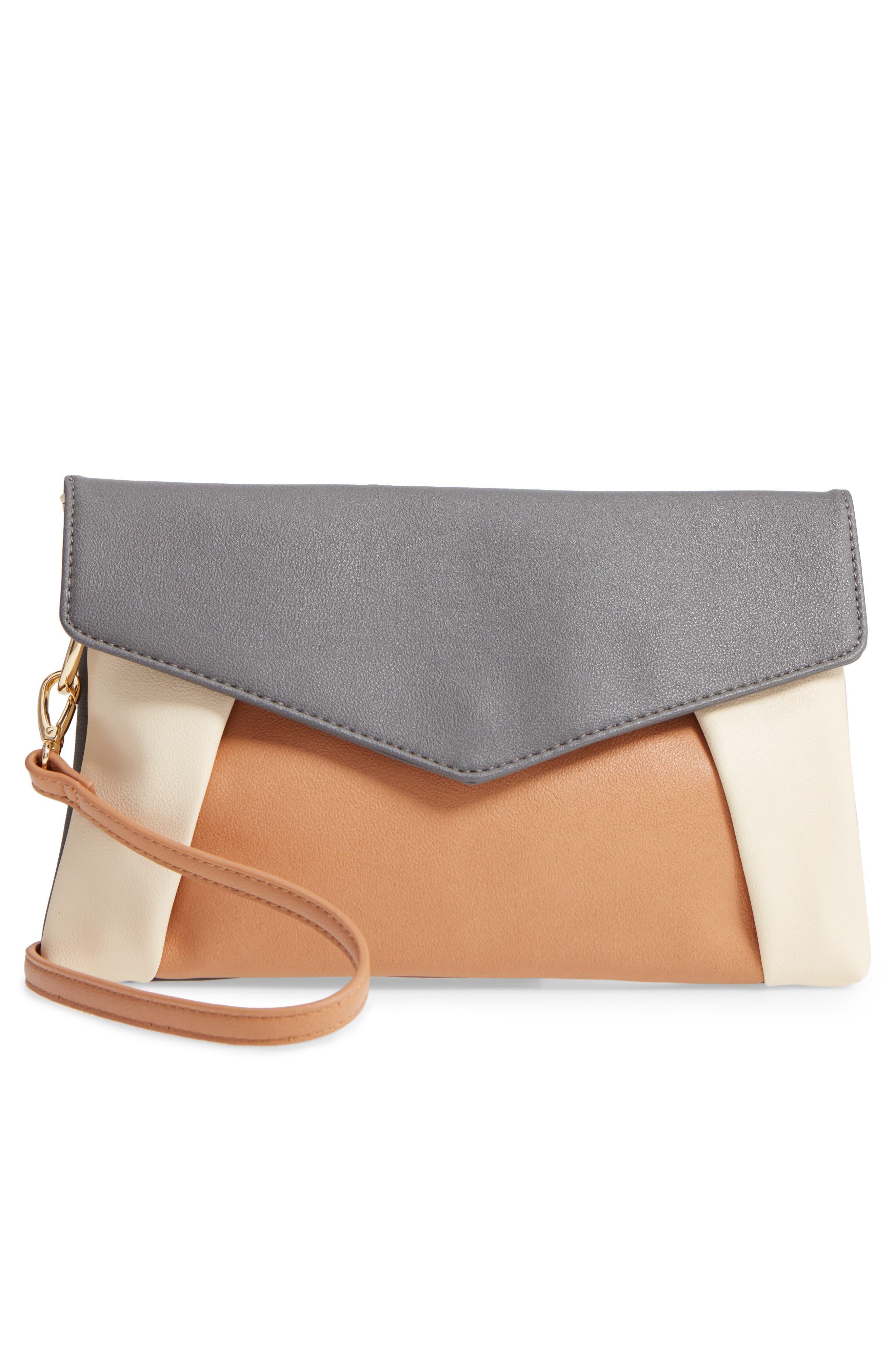 Shea Tricolor Faux Leather Clutch,                             Alternate thumbnail 3, color,