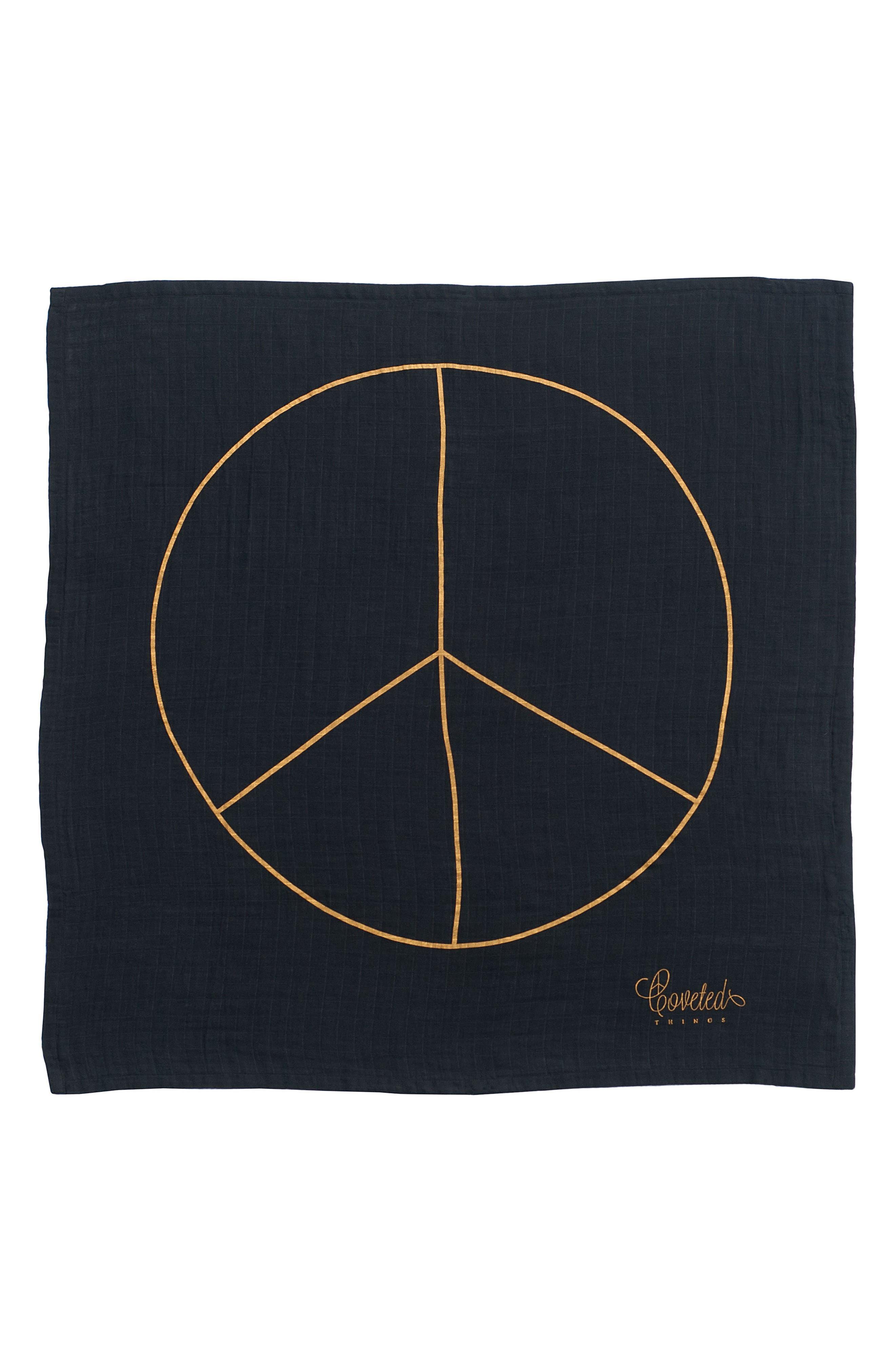 Peace Organic Cotton Swaddle Cloth,                             Main thumbnail 1, color,                             001