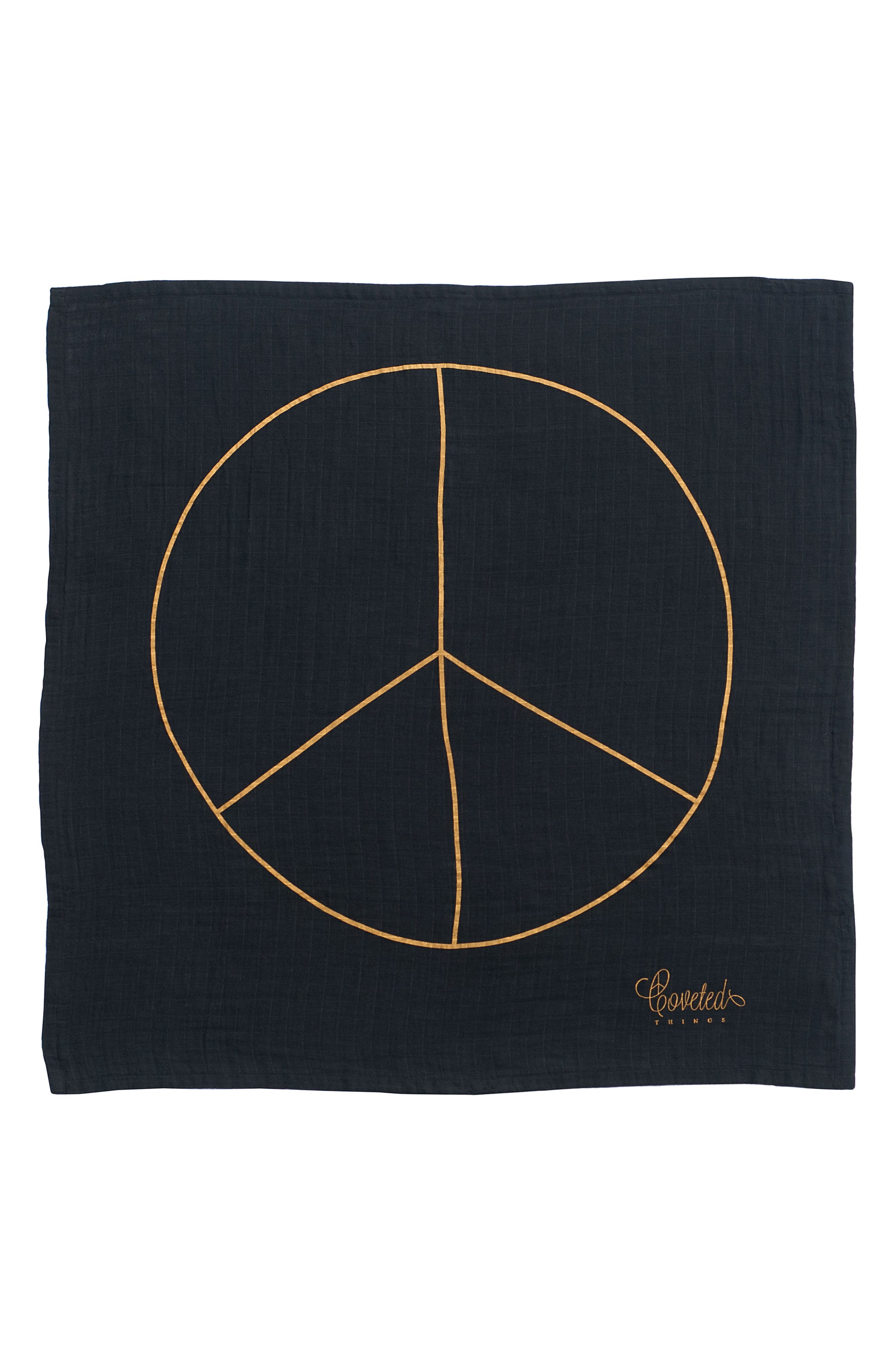 Peace Organic Cotton Swaddle Cloth,                         Main,                         color, 001