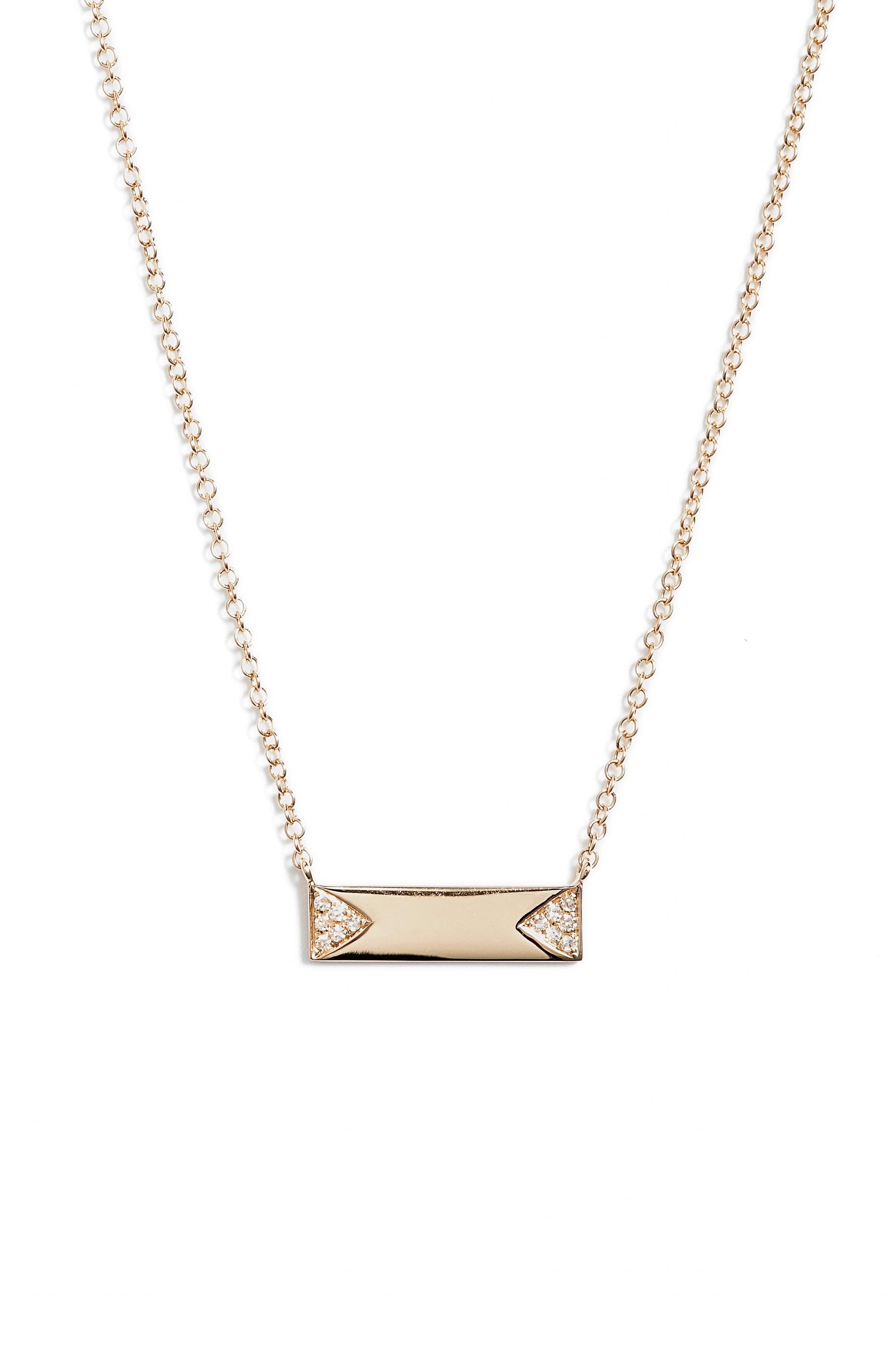 Diamond ID Pendant Necklace,                             Main thumbnail 1, color,                             YELLOW GOLD