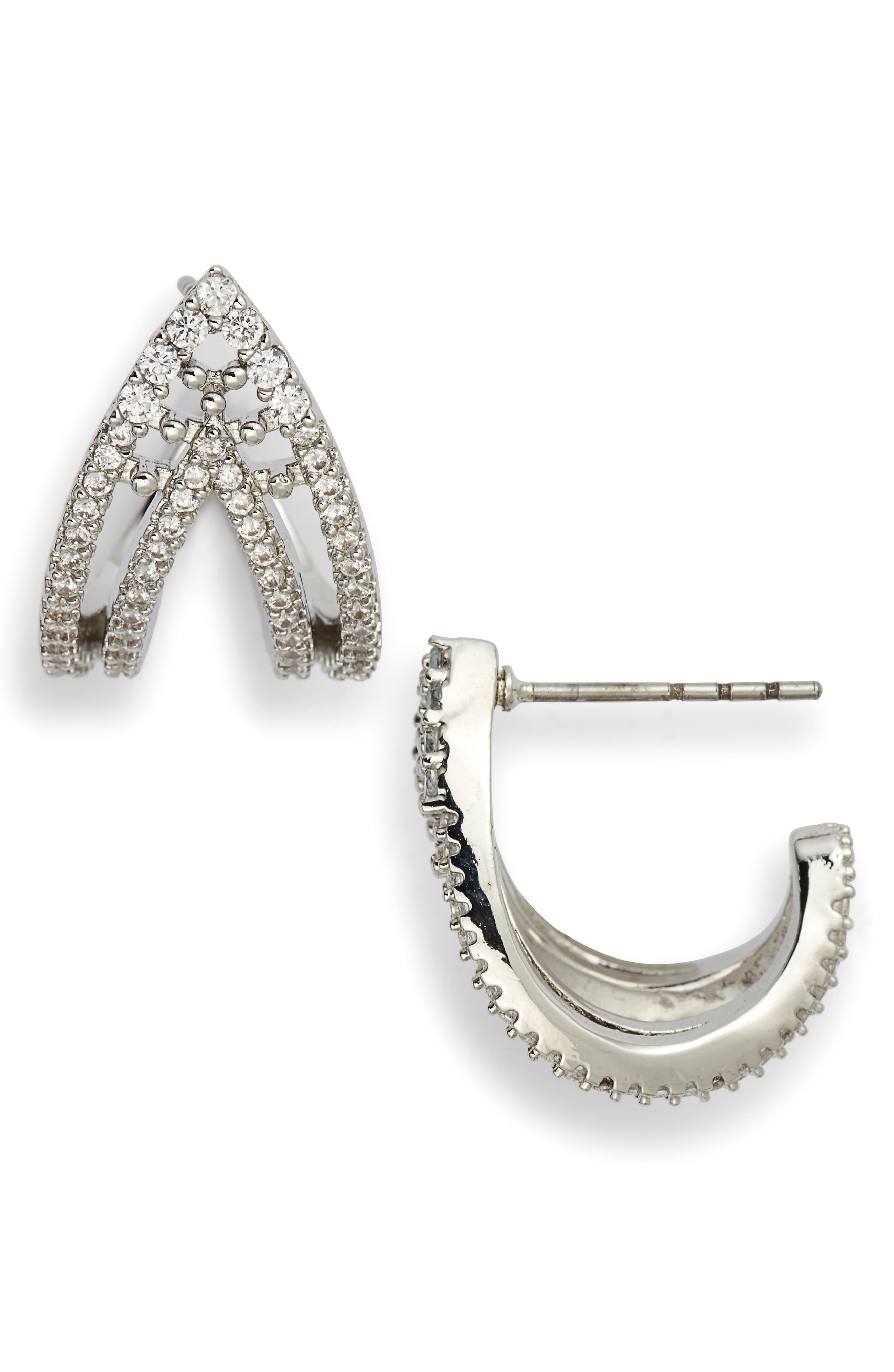 JENNY PACKHAM Pave Curved Open Stud Earrings in Silver