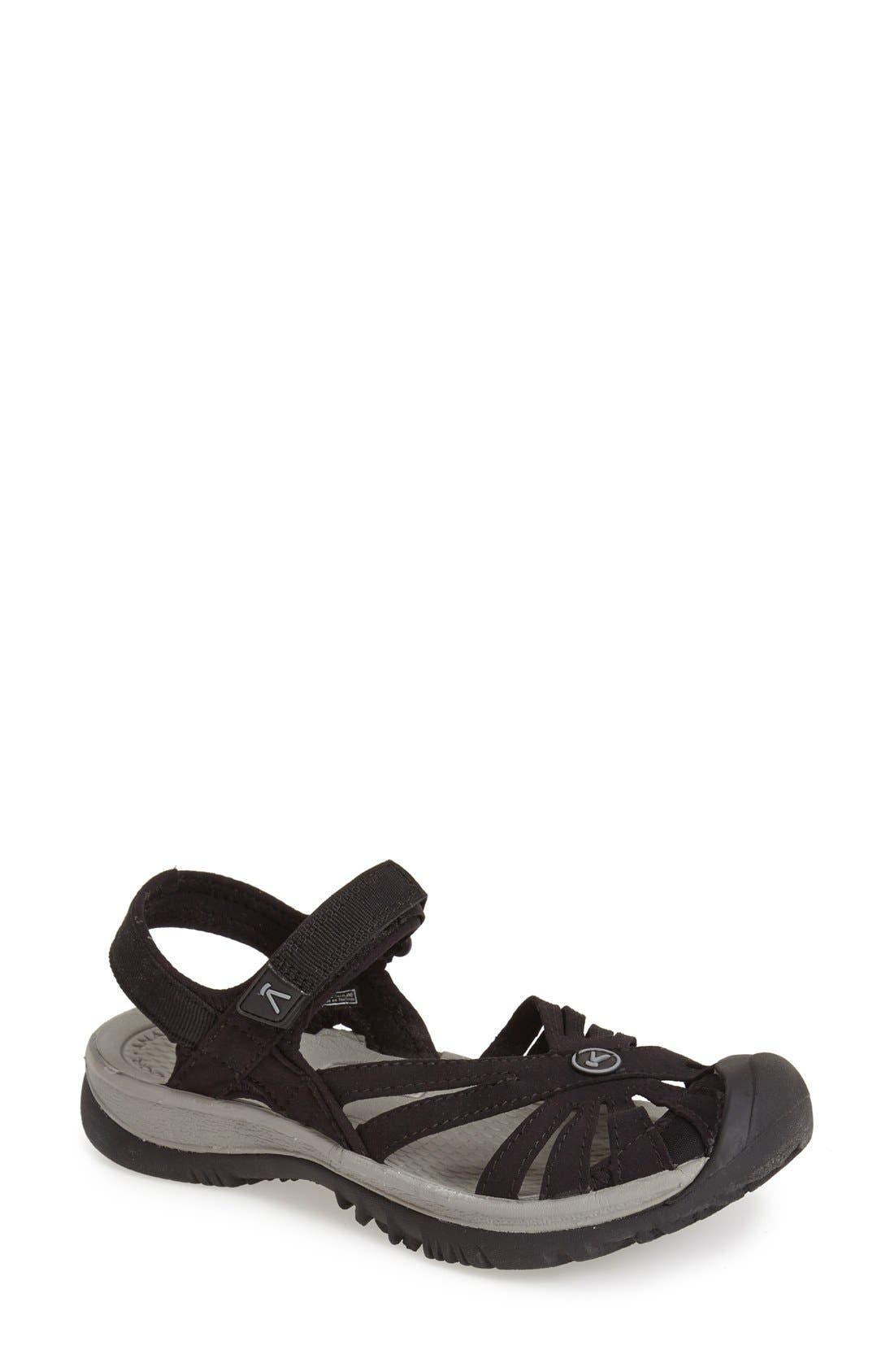 'Rose' Sandal,                         Main,                         color, BLACK/ GREY