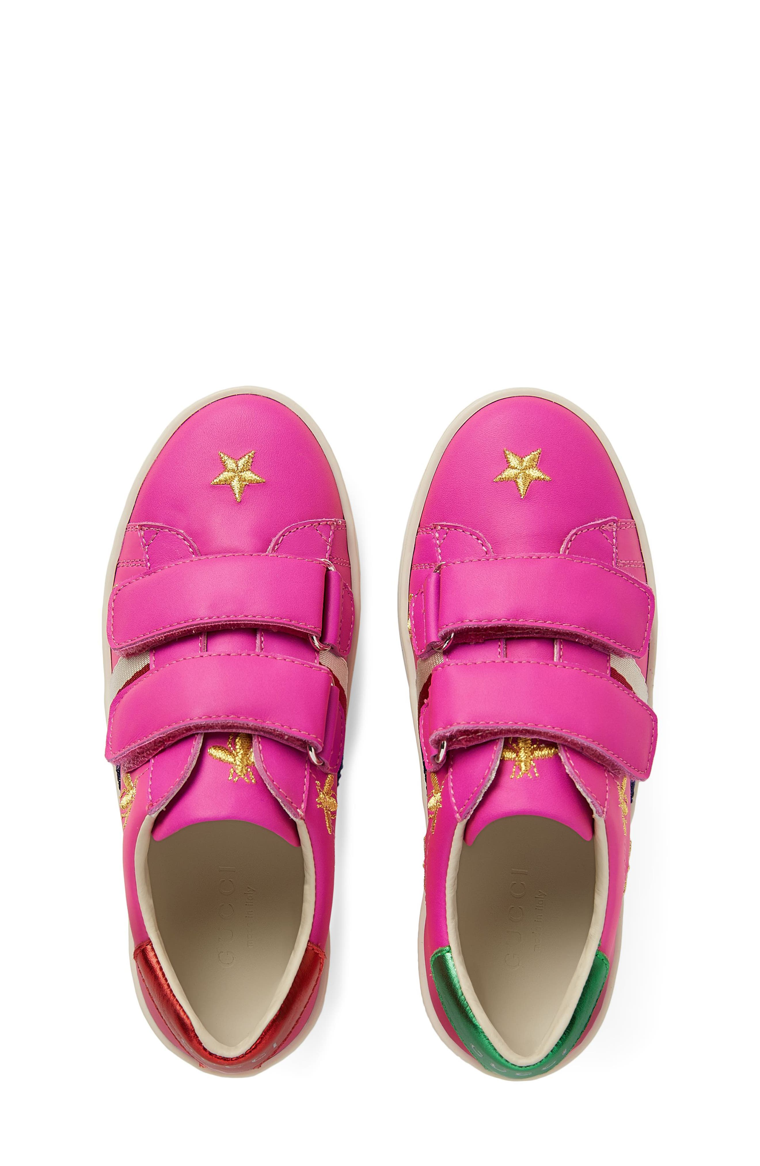 New Ace Embroidered Sneaker,                             Alternate thumbnail 4, color,                             PINK STAR