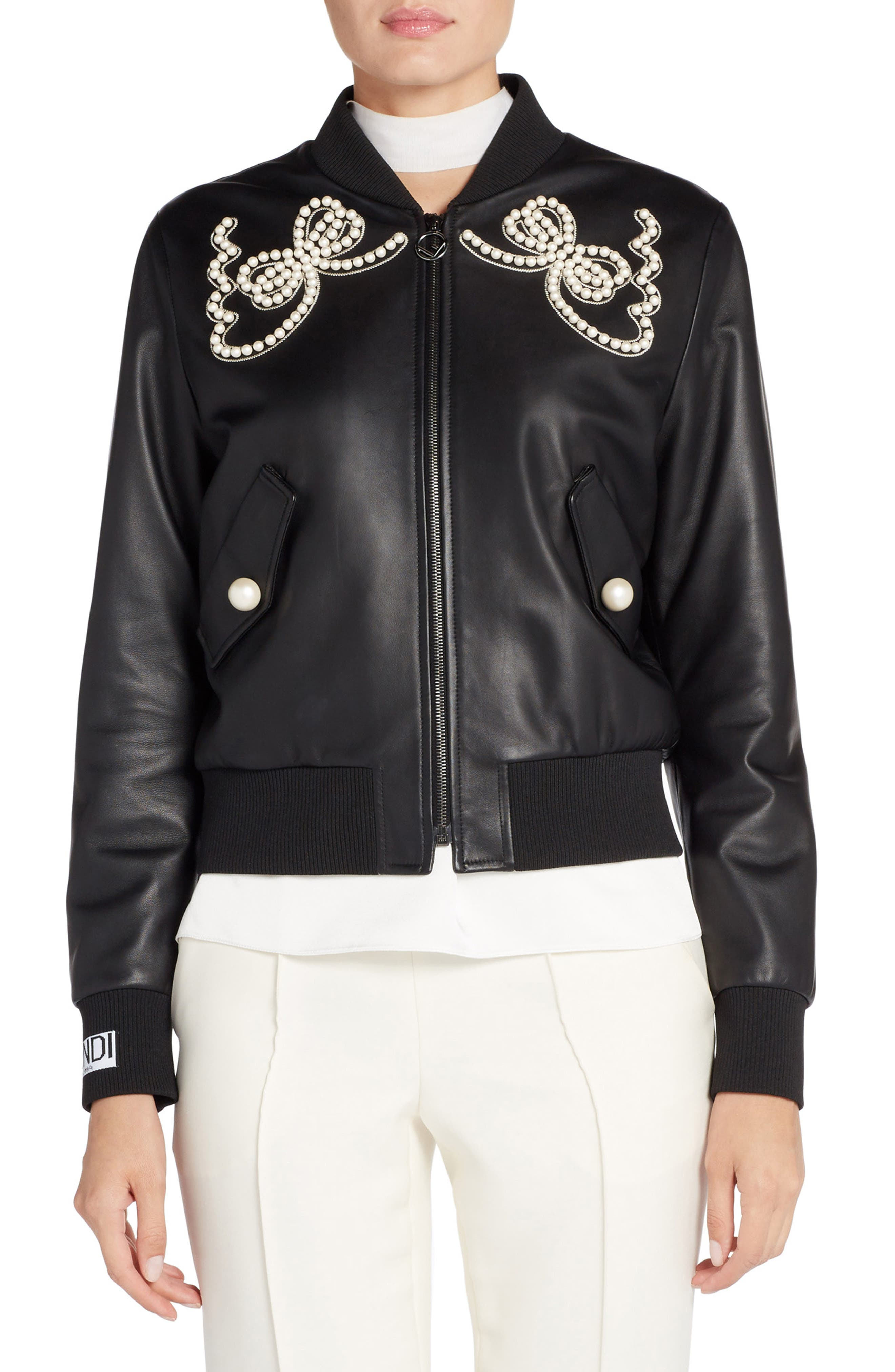 Embellished Bow Leather Bomber,                         Main,                         color, 001