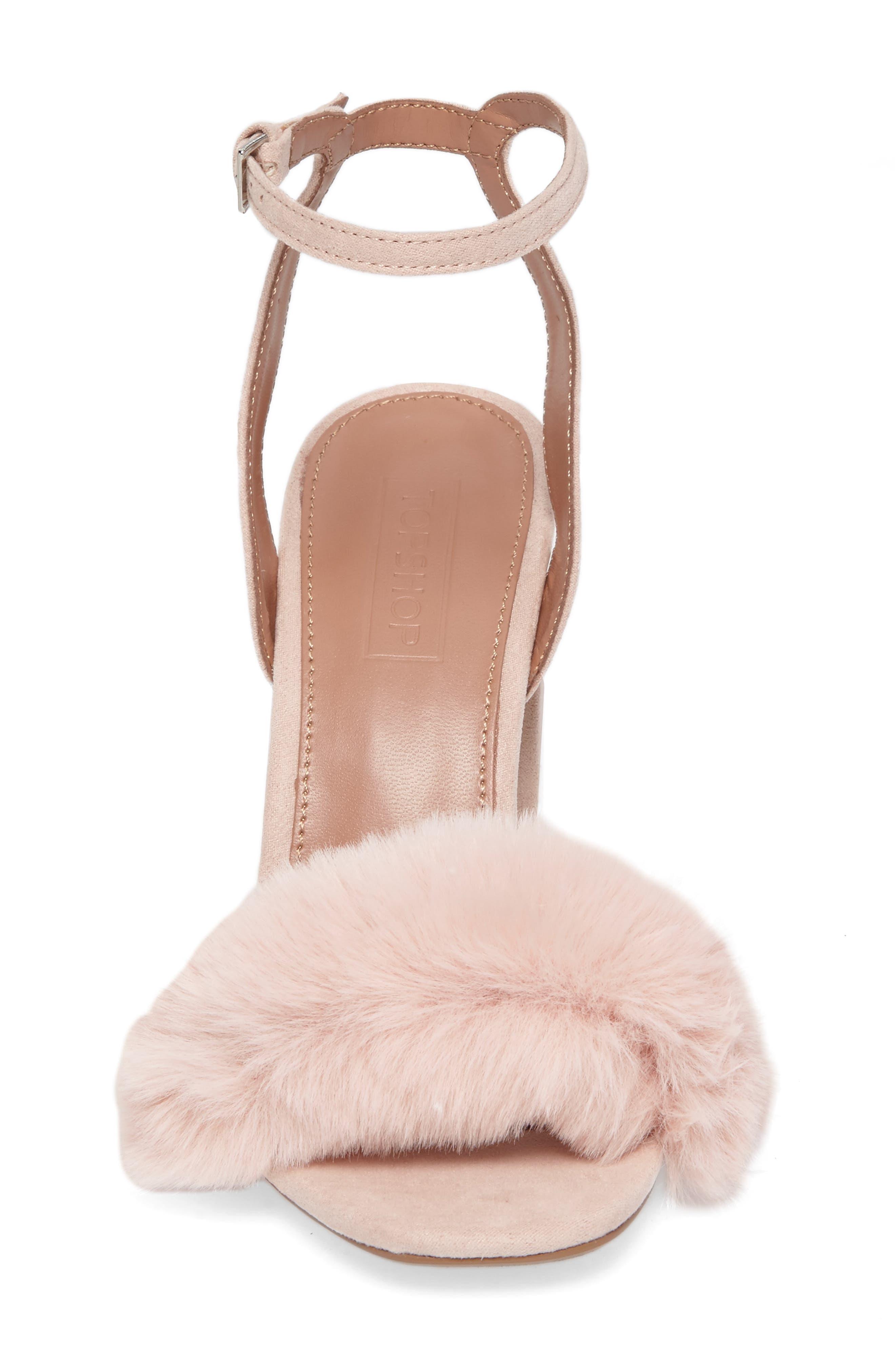 Maison Faux Fur Block Heel Sandal,                             Alternate thumbnail 4, color,                             250