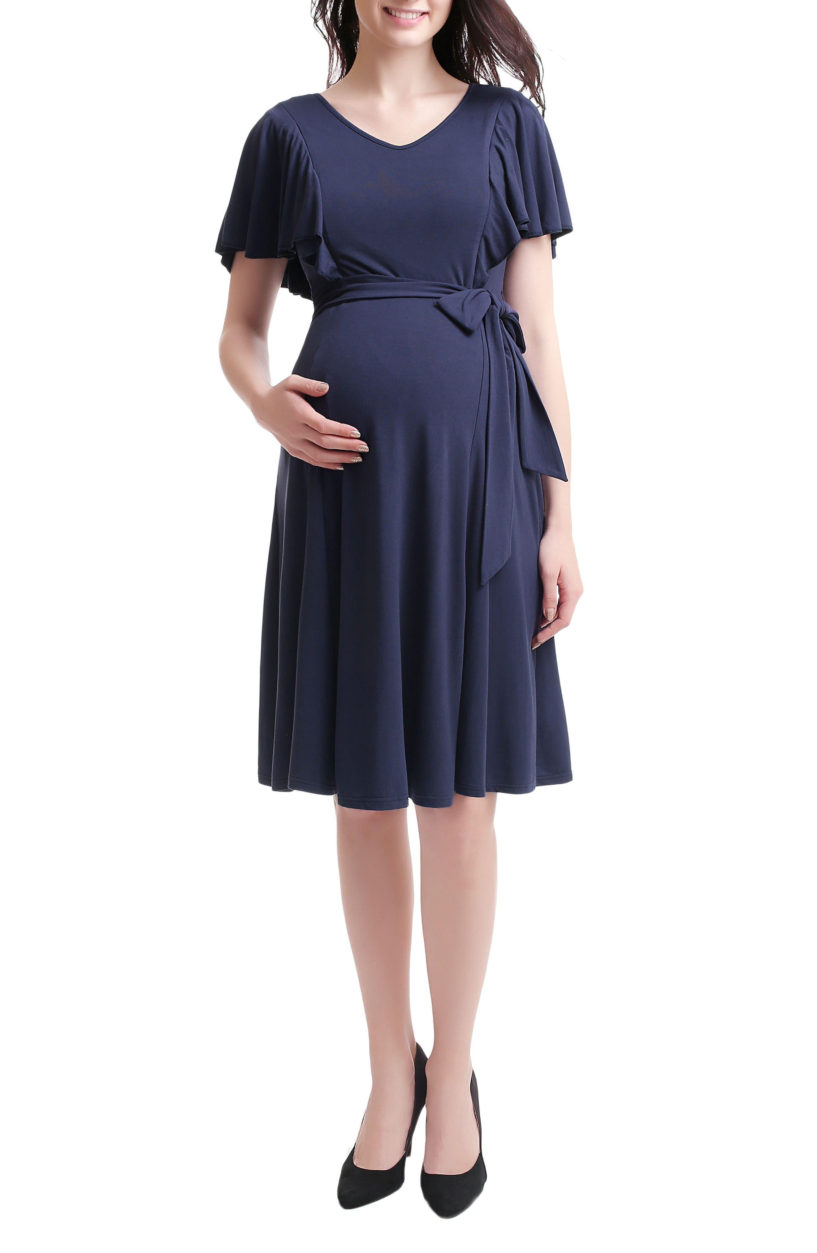 Kimi & Kai Rhea Tie Maternity/Nursing Skater Dress,                         Main,                         color, NAVY