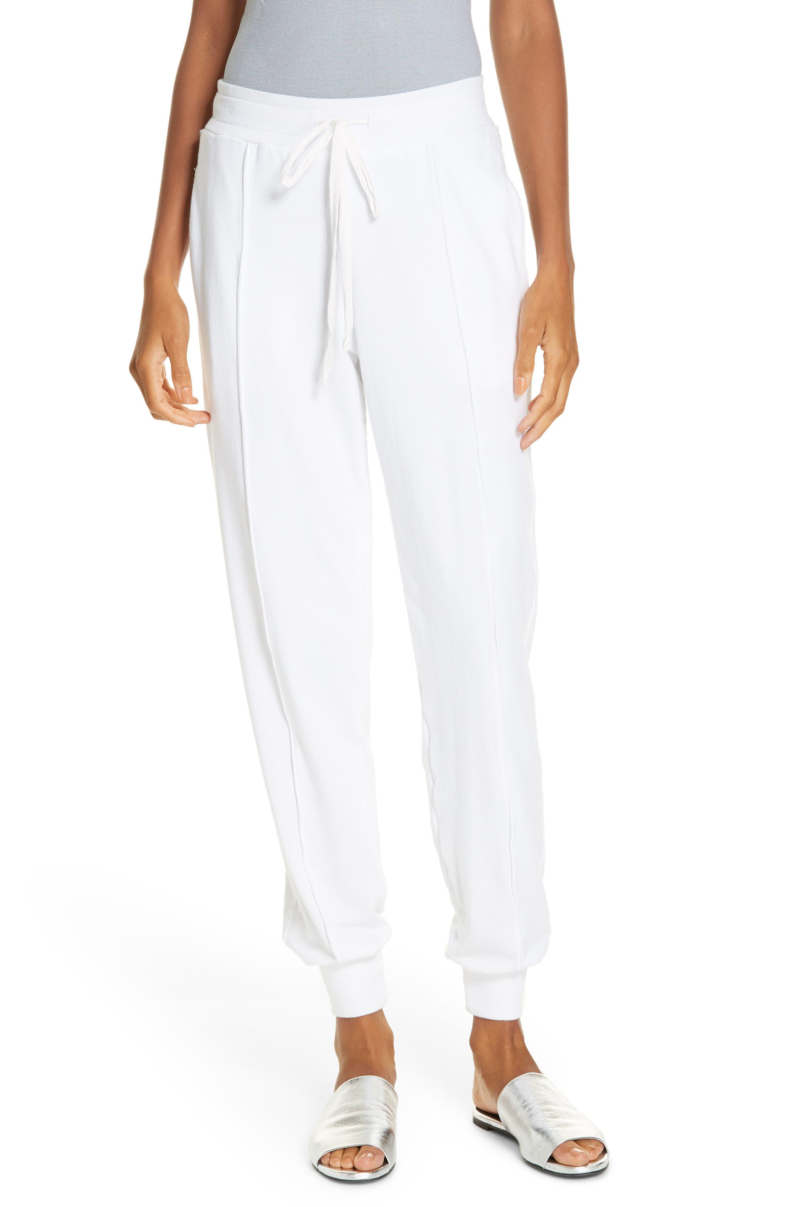 Sequin Cotton Blend Jogger Pants,                         Main,                         color, WHITE