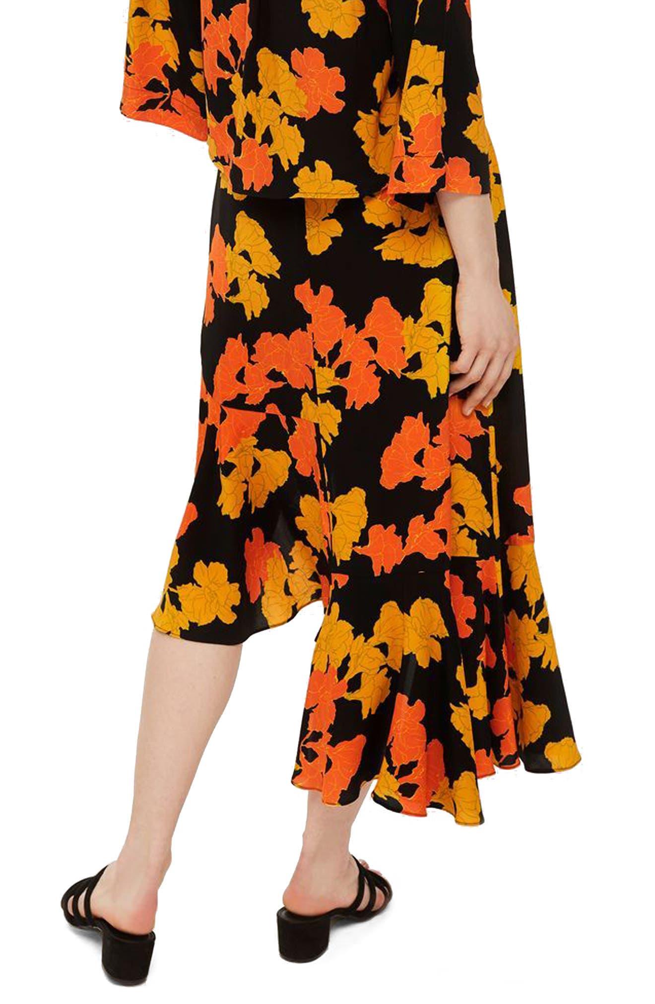 TOPSHOP,                             Printed Midi Skirt,                             Alternate thumbnail 2, color,                             001