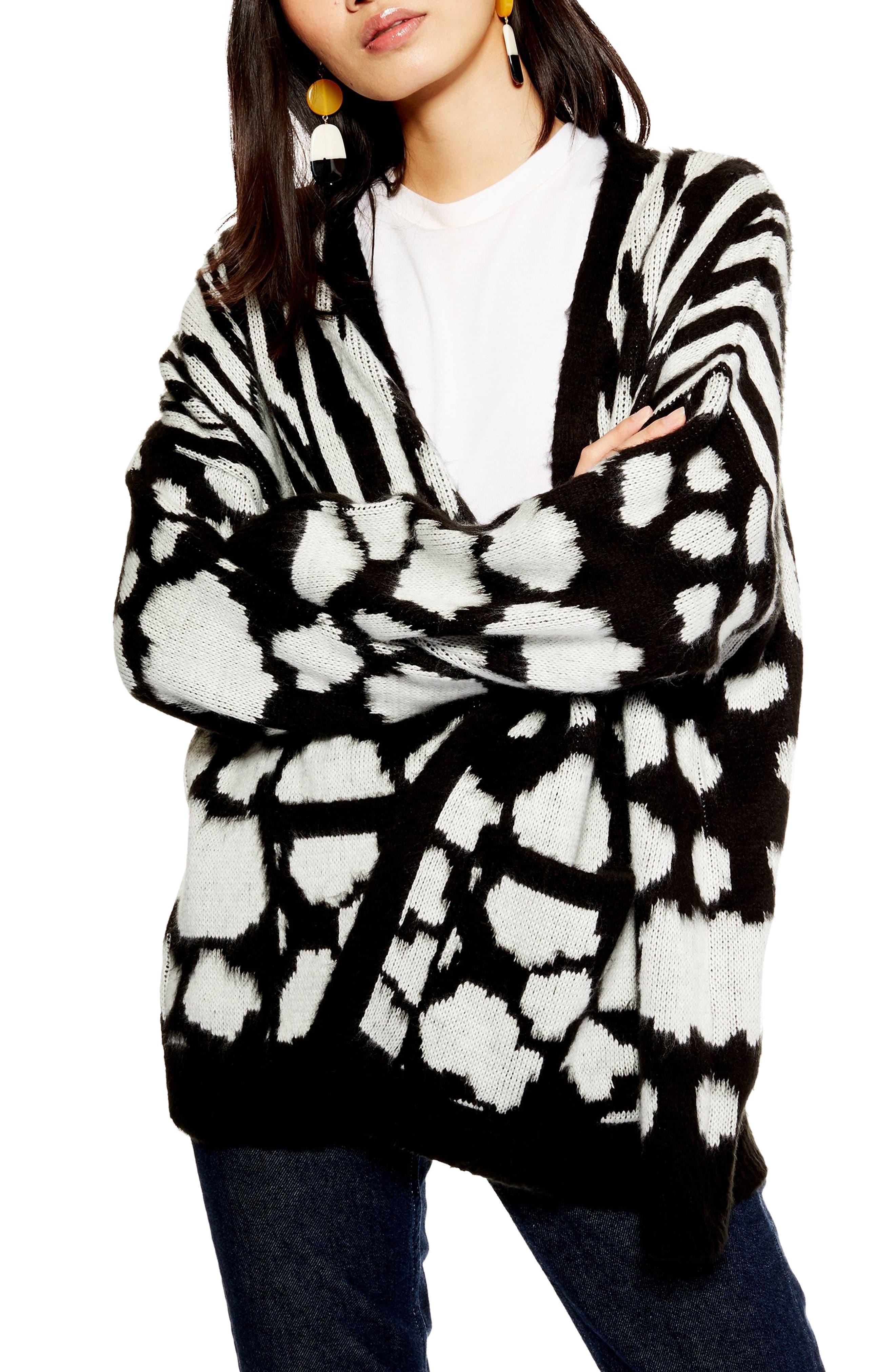 Zebra Mix Cardigan,                             Main thumbnail 1, color,                             BLACK MULTI