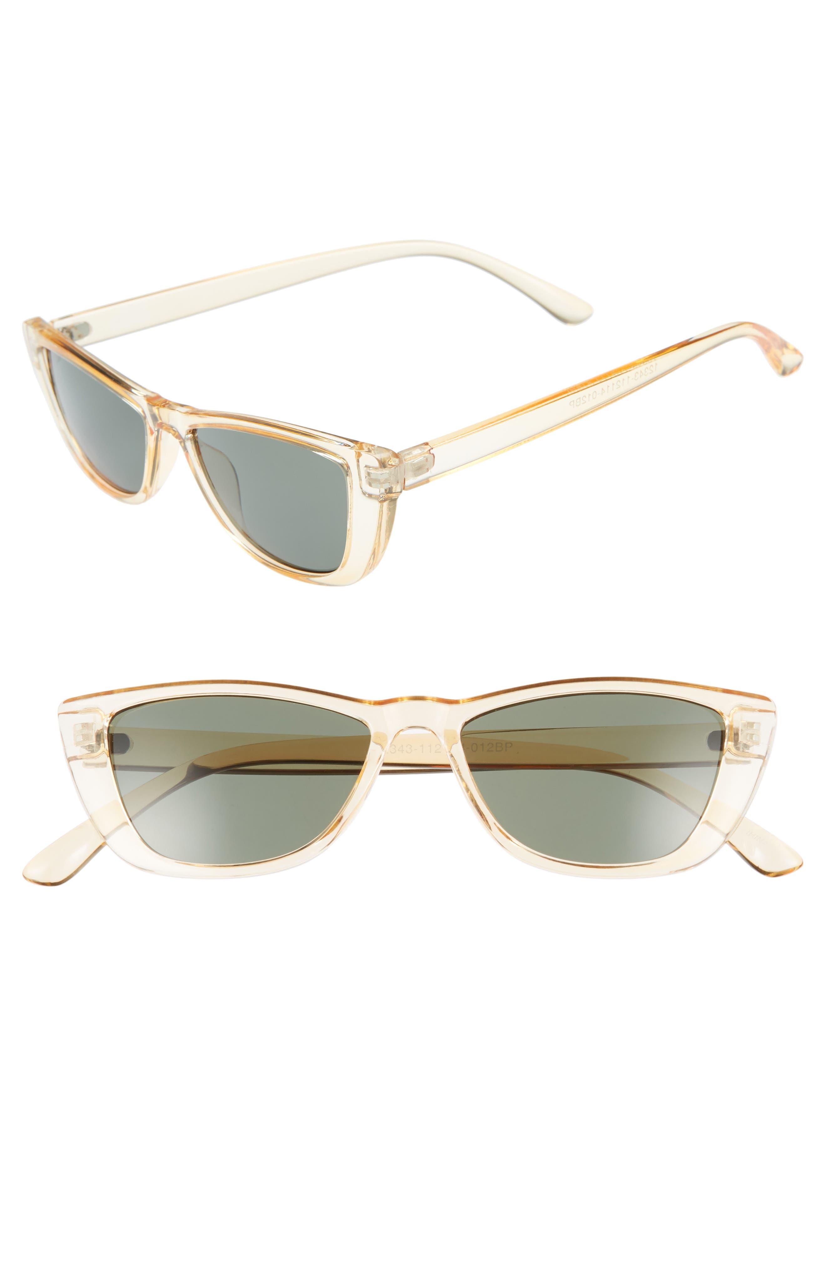 49mm Flat Top Rectangular Sunglasses,                             Main thumbnail 1, color,                             700