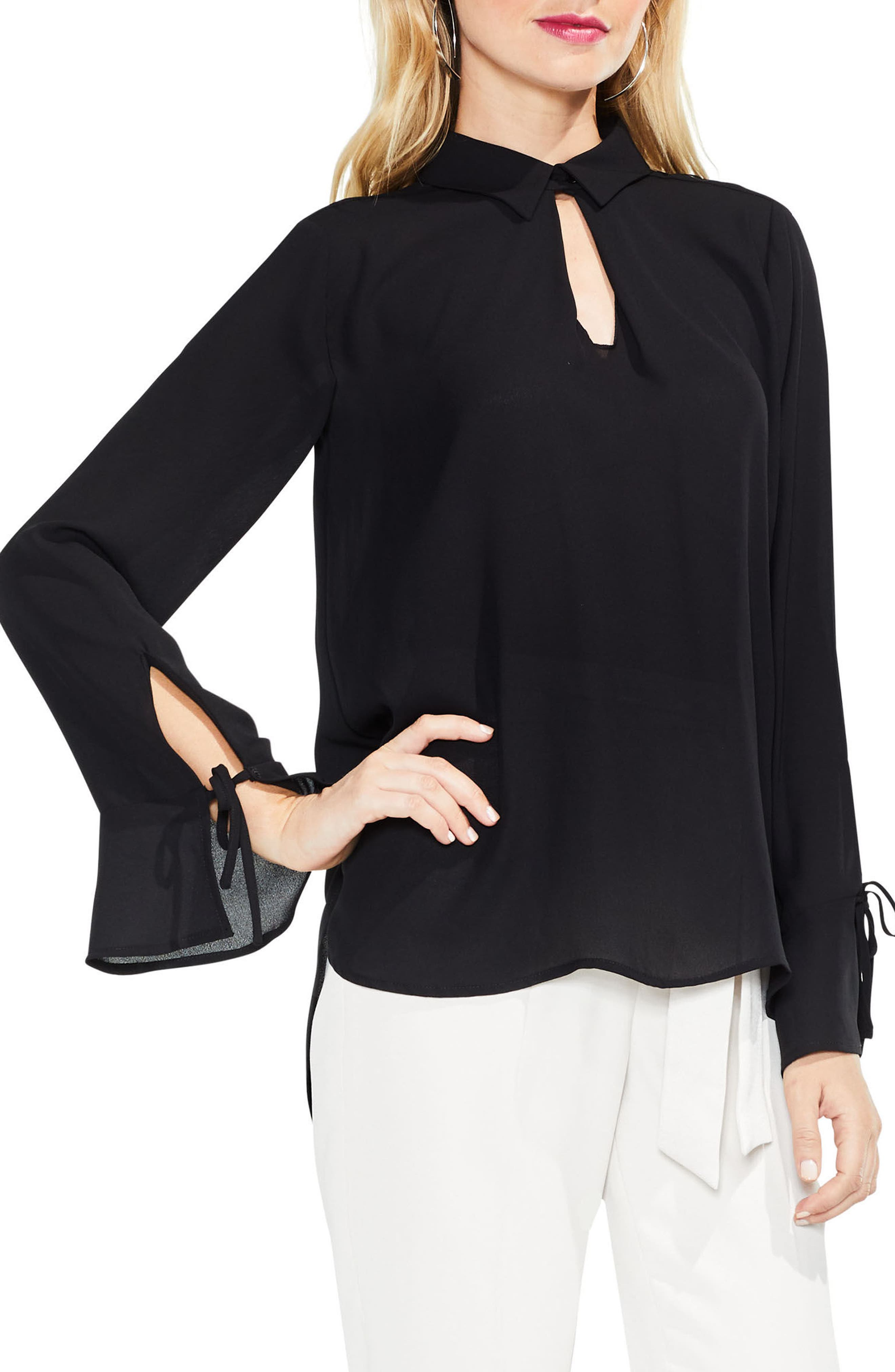 Flare Cuff Keyhole Blouse,                             Main thumbnail 1, color,