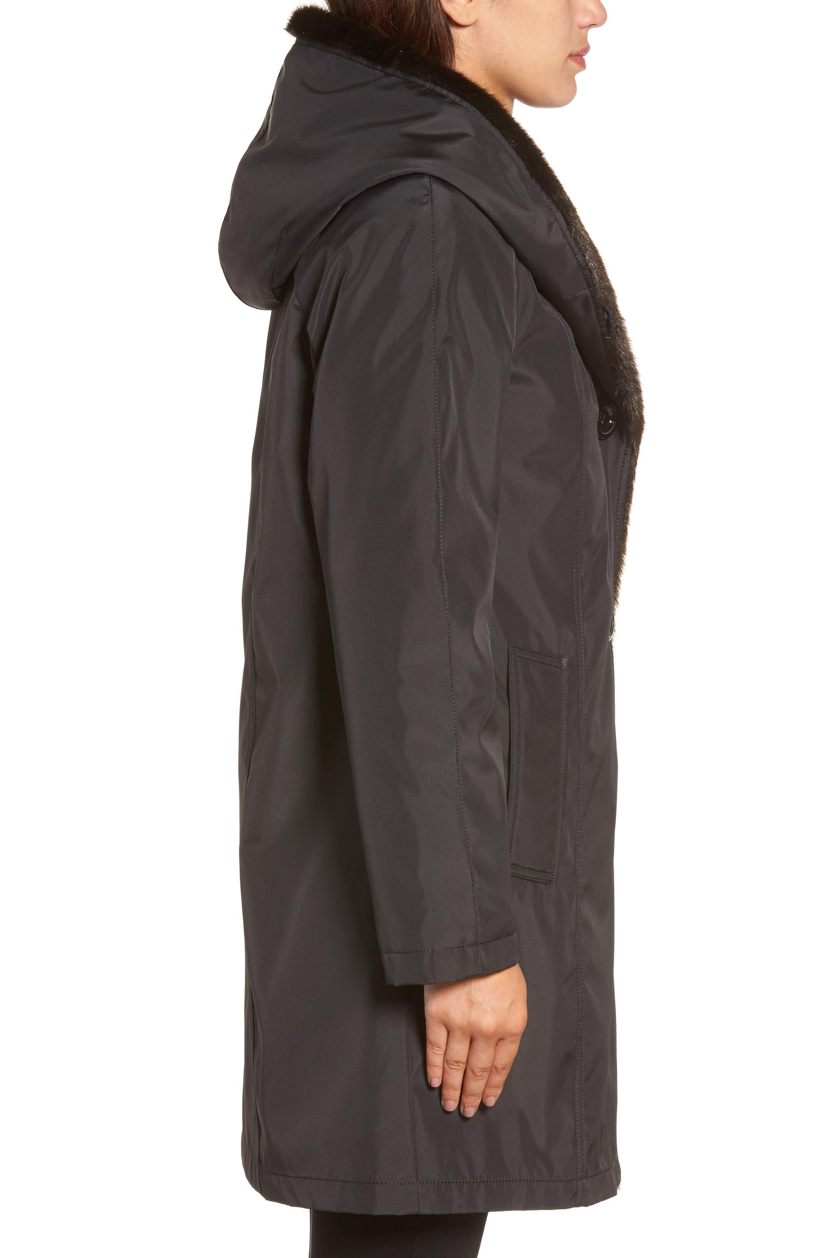 Storm Coat with Faux Fur Trim & Lining,                             Alternate thumbnail 3, color,                             001