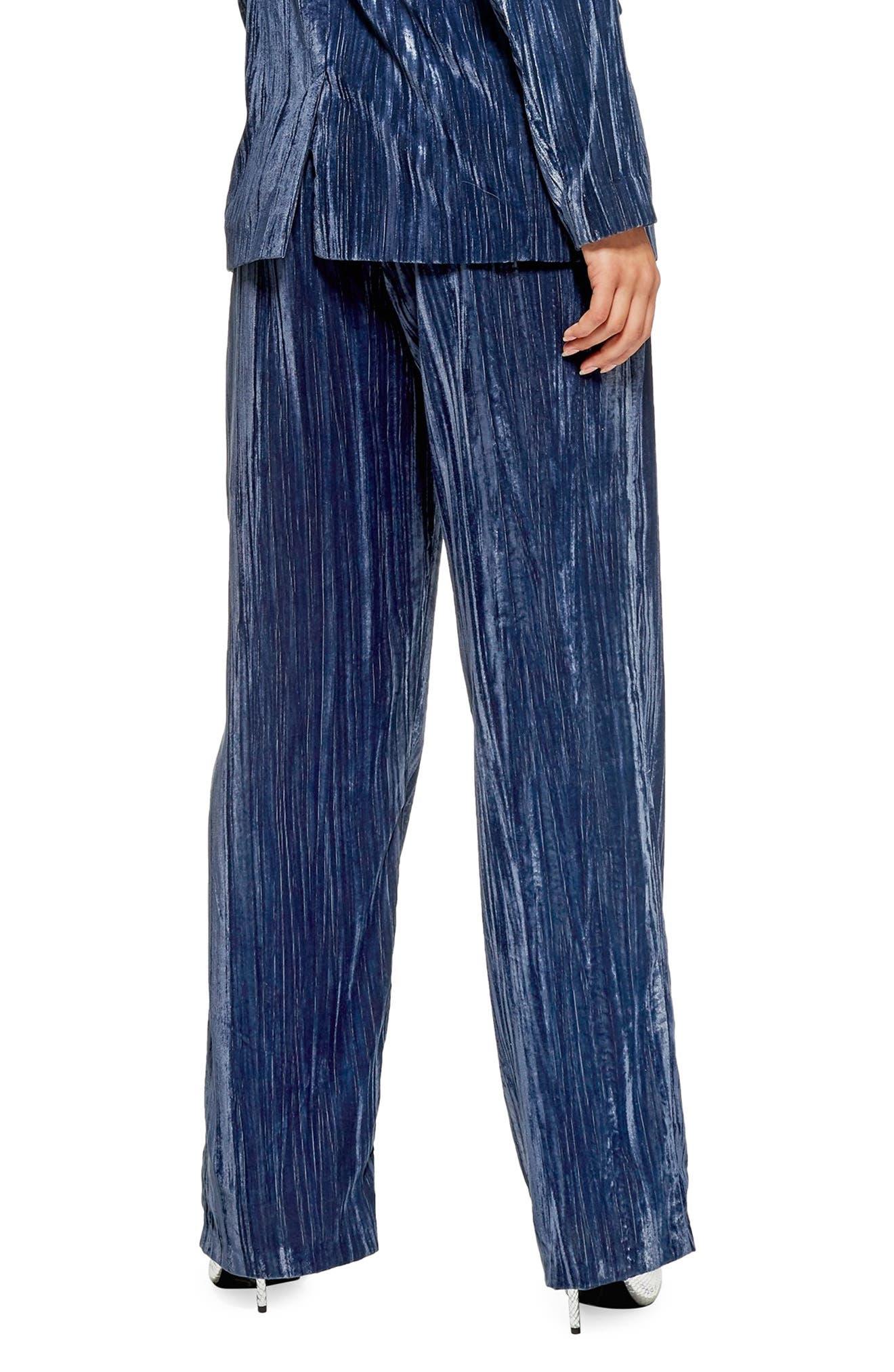 Crinkled Velvet Trousers,                             Alternate thumbnail 2, color,                             PETROL