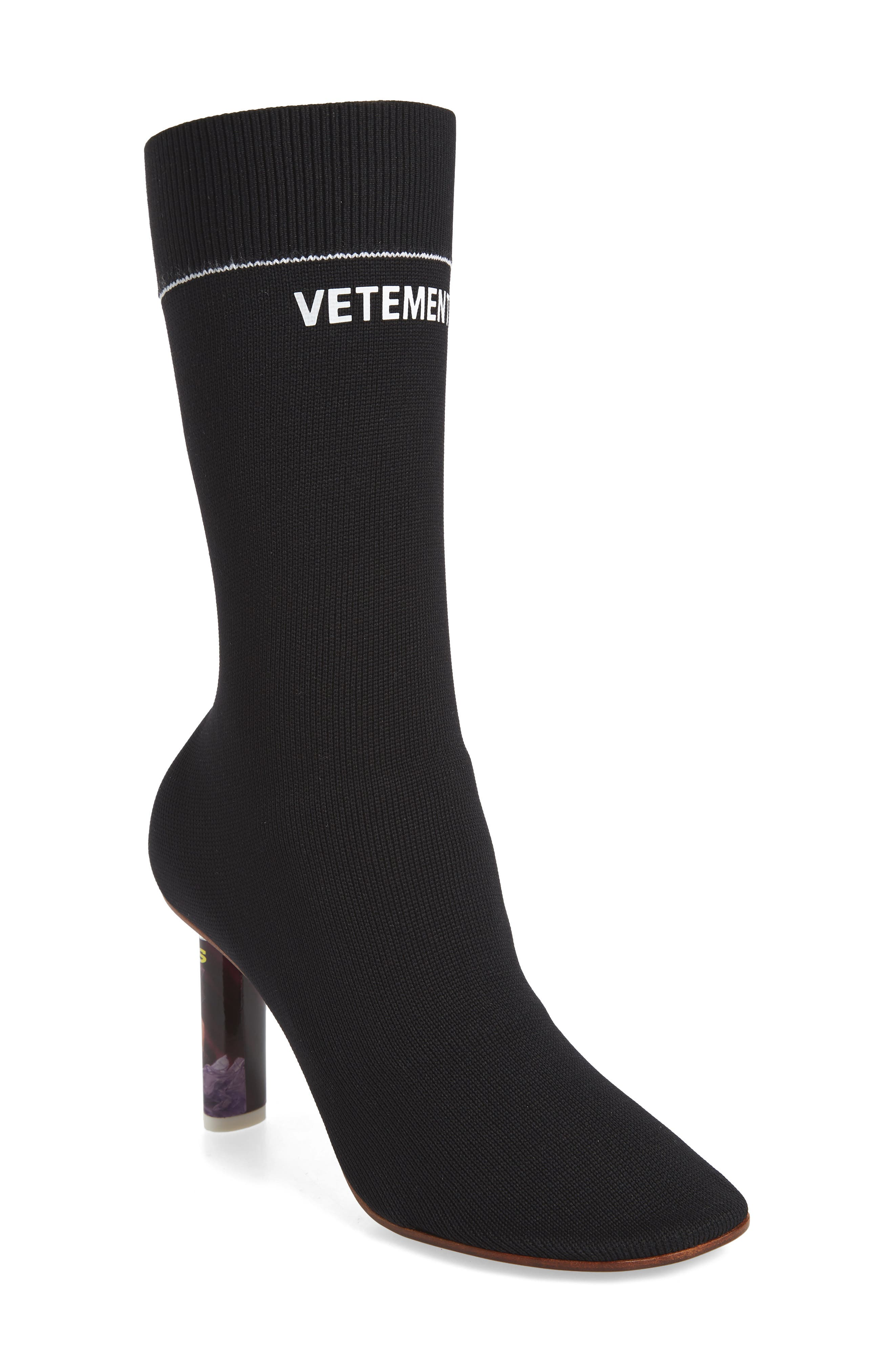 Lighter Sock Boot,                             Main thumbnail 1, color,                             BLACK/PRINTED HEEL