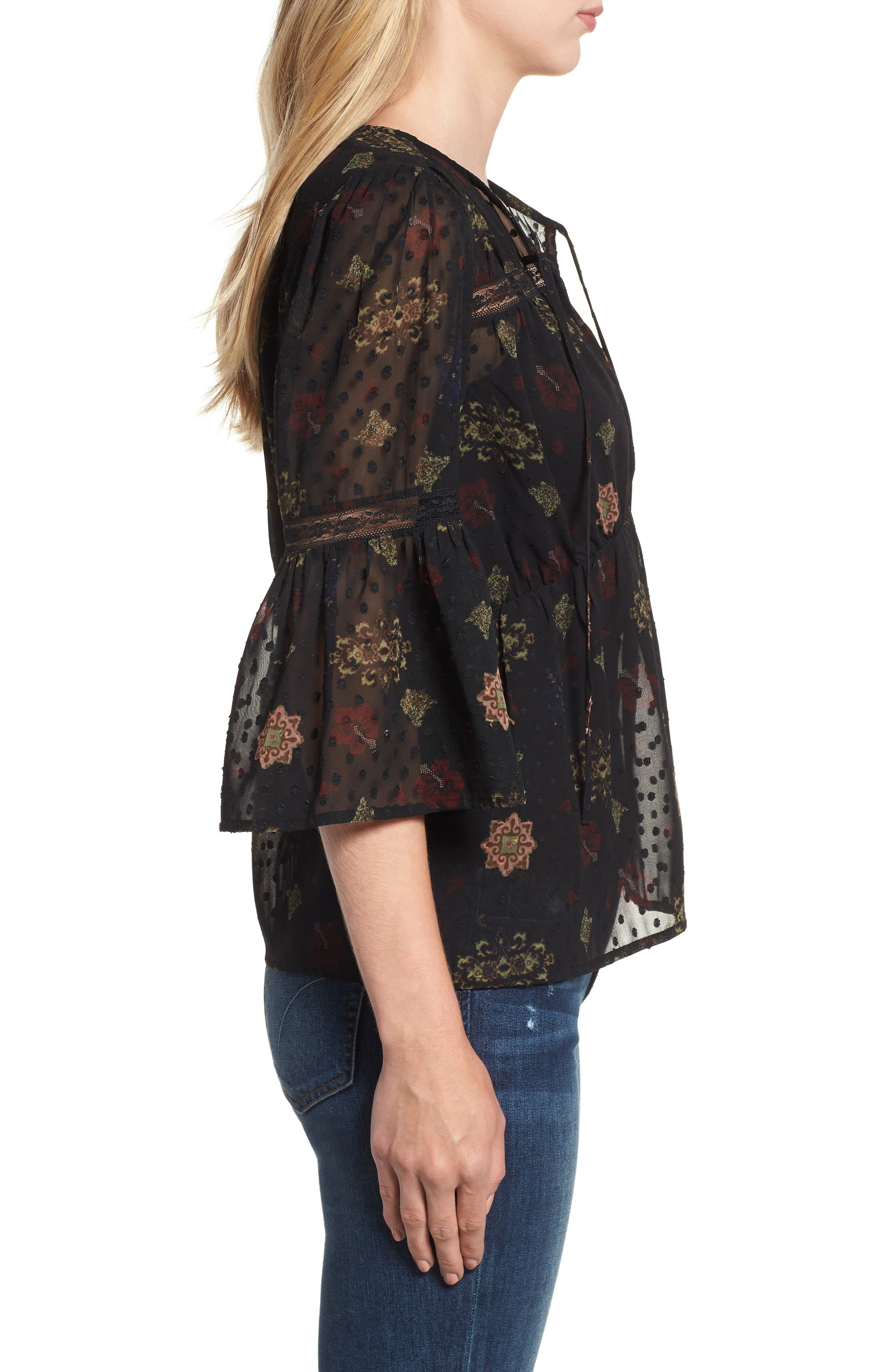 Swiss Dot Sheer Floral Blouse,                             Alternate thumbnail 3, color,                             001