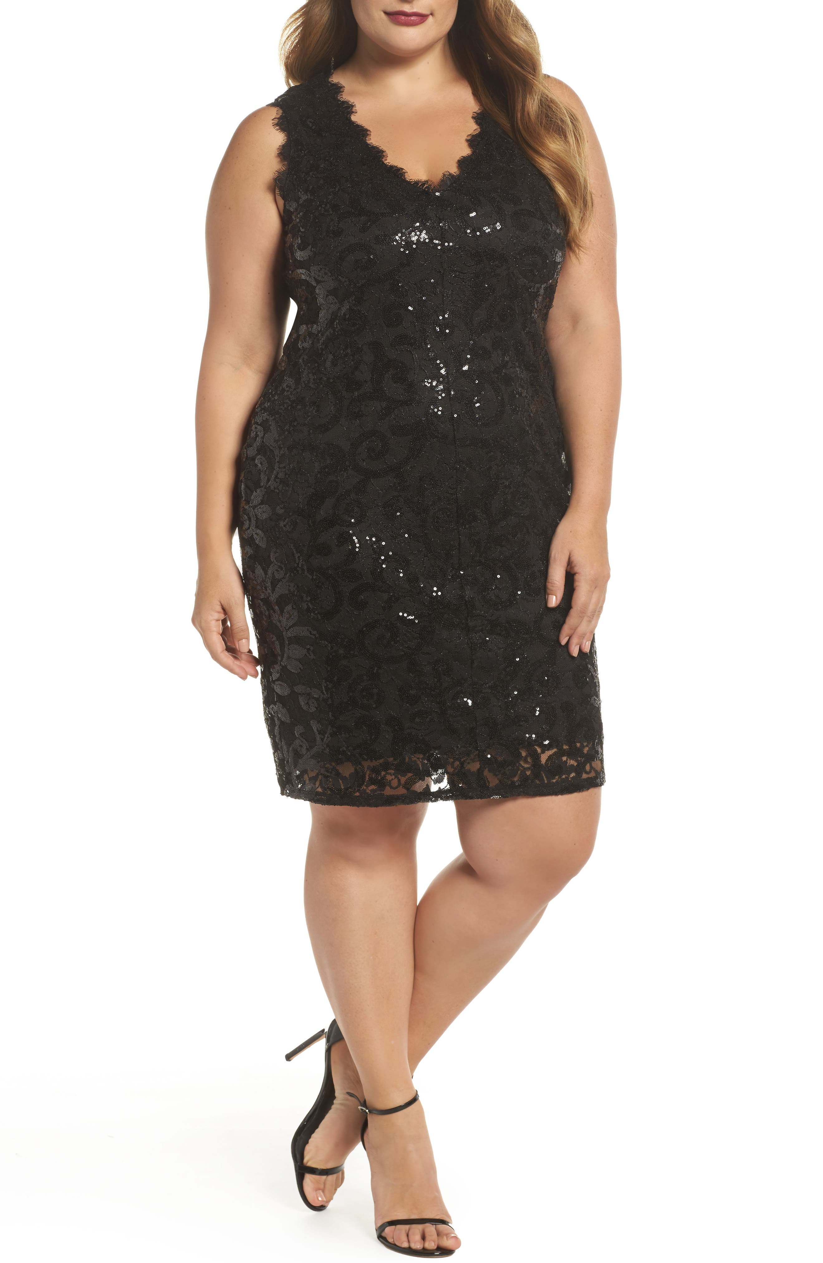 Sequin Lace Party Dress,                             Main thumbnail 1, color,                             001