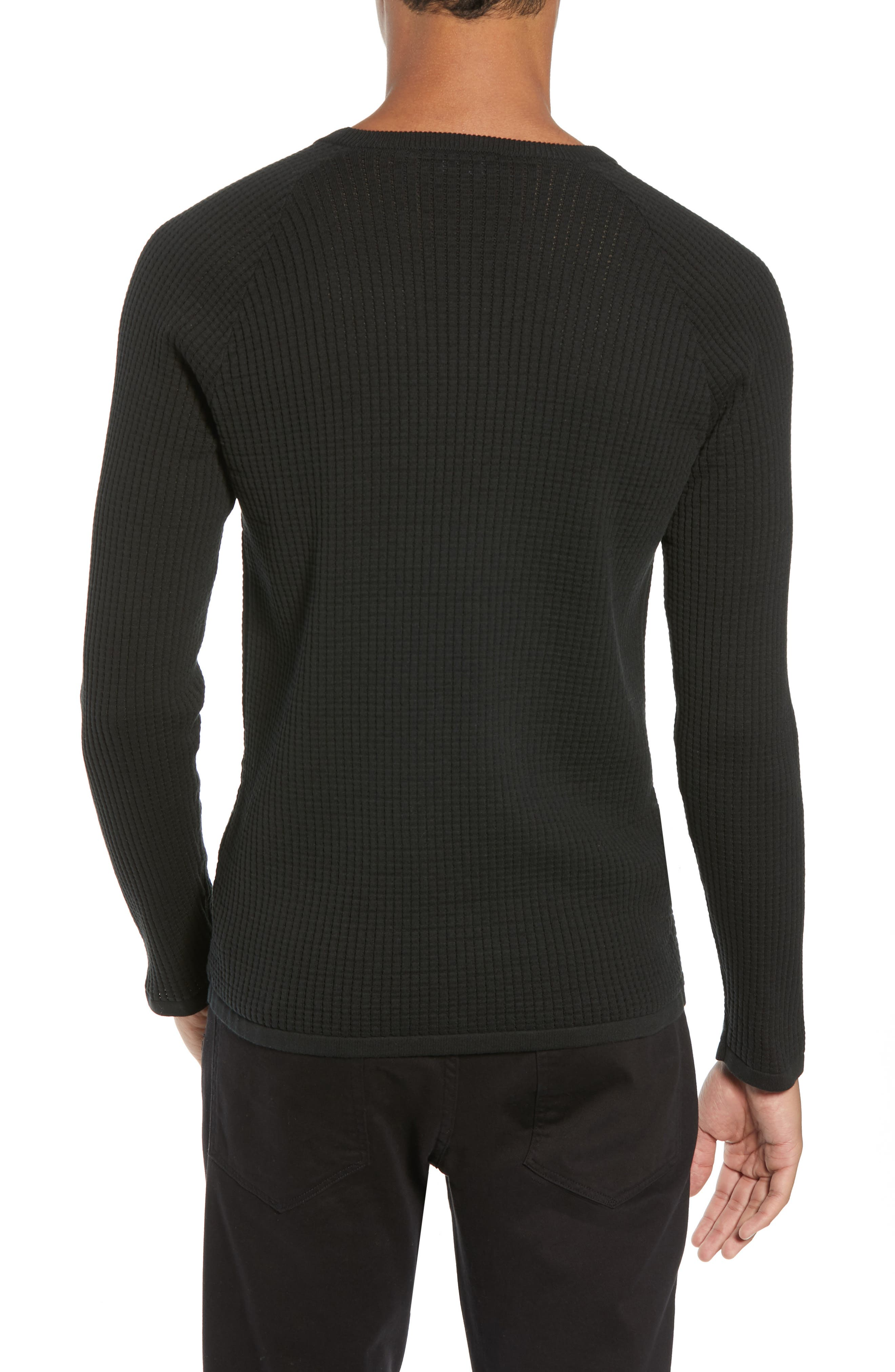 Amadeo Regular Fit Textured Cotton Sweater,                             Alternate thumbnail 2, color,                             BLACK