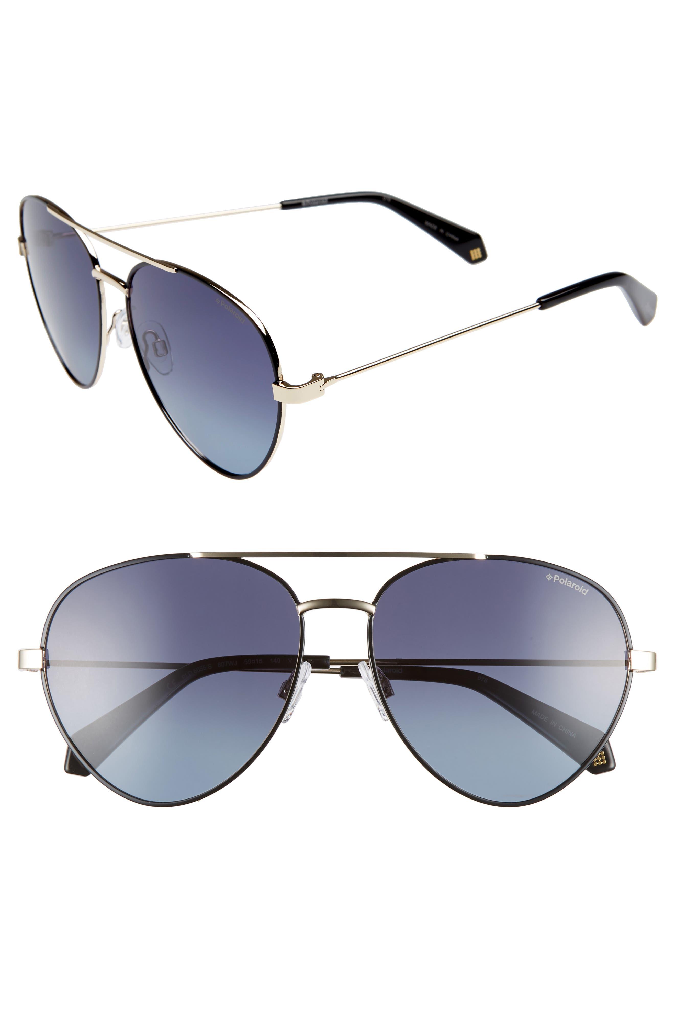 Polaroid 5m Polarized Aviator Sunglasses - Black