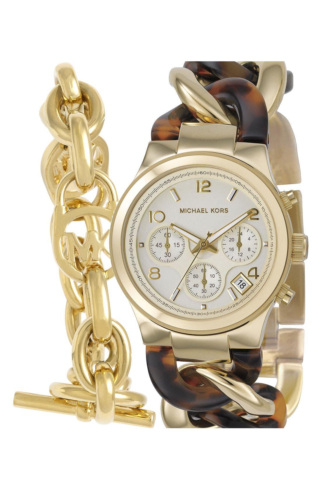 Michael Kors Chain Bracelet Chronograph Watch, 38mm,                             Alternate thumbnail 8, color,